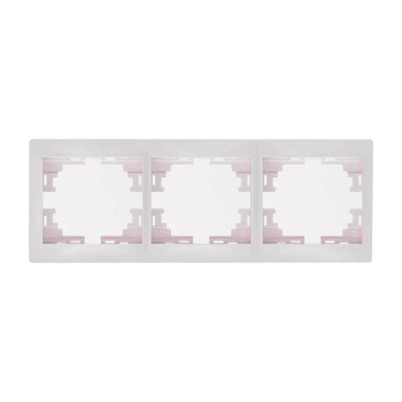 Рамка 3-местная белая горизонтальная МИРА LEZARDРамка 3-местная белая горизонтальная МИРА LEZARD<br><br>Трехместная рамка МИРА LEZARD в горизонтальном положении для скрытия розеток или выключателей. Цвет &amp;ndash; белый.<br><br>НАЗНАЧЕНИЕ:<br><br>Предназначена для горизонтального монтажа розеток и выключателей со встраиваемым типом &amp;nbsp;коллекции МИРА LEZARD.<br><br>ПРЕИМУЩЕСТВА:<br><br>Корпус оснащен тремя постами в горизонтальном положении для удобства размещения розеток и выключателей в различном порядке.<br><br>Надежность (защита от пыли и влаги, упор конструкции розетки в стену, корпус из негорячего поликарбоната, каркас устойчив к механическому повреждению, защита от УФ лучей);<br><br>Удобство монтажа (быстрая установка защелкиванием, винтовое крепление, длина посадки регулируется до 10мм);<br><br>Дизайн (красивая обтекаемая форма белого цвета, хорошо скрывает розетки и выключатели);<br><br>Рабочая температура от -25*С до +40*С, не воспламеняется.<br><br>РЕКОМЕНДАЦИИ:<br><br>Использовать для розеток и выключателей скрытого типа установки;<br><br>При установке розетки и рамки на нее, необходимо убедиться в &amp;nbsp;геометрии стен для полного прилегания &amp;nbsp;конструкции;<br><br>Скорректировать положение рамки при помощи строительного уровня;<br><br>Клавиши выключателя установить, надавливая до упора. Розетки фиксируются саморезами;<br><br>Не затягивайте через силу рамку &amp;ndash; она может треснуть;<br><br>В случае не плотного прилегания конструкции к стене &amp;ndash; проверить правильность выставления внутреннего механизма.<br><br>МЕРЫ ПРЕДОСТОРОЖНОСТИ:<br><br>Работы с установкой розеток и выключателей происходят в отсутствии детей и животных.<br><br><br>&amp;nbsp;<br>Родина бренда: Китай; Бренд: Lezard; Коллекция: Мира; Стилизация: Монотонный; Цвет: Белый; Назначение: Для розетки; Назначение: Для выключателя; Количество гнезд: Трехместная; Материал: Пластик; Высота: 8,5 мм; Ширина: 82 мм; Длина: 222 мм; Степень защиты: IP 20;