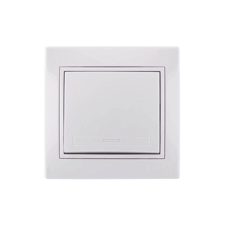 Выключатель одноклавишный белый 10А МИРА LEZARDДизайн<br>• Негорючие детали корпуса из поликарбоната<br>• Специальные выемки под отвертку для демонтажа без повреждения корпуса<br>и накладки<br>• Защита всех деталей корпуса от ультрафиолетовых лучей<br><br>Механизм<br>• Прочная контактная группа (полиамид 66)<br>• Удобные кабельные соединения, благодаря особым шайбам с насечками<br>• Контакты поворотного механизма включения выполнены из нержавеющего<br>металла, что обеспечивает их значительно большую долговечность, чем<br>стандартные 40 000 циклов включения/выключения<br>• Жесткий нержавеющий каркас из металла толщиной 1 мм, изолированный от<br>токопроводящих частей устройства<br>• Система защиты пальцев за счет особой изоляции<br>• Схема электрических соединений<br>• Простые в обращении соединительные двусторонние клеммы с нумерацией<br>Родина бренда: КИТАЙ; Бренд: Lezard; Коллекция: Мира; Стилизация: МОНОТОННЫЙ; Цвет: БЕЛЫЙ; Цвет производителя: БЕЛЫЙ; Тип выключателя: КЛАВИШНЫЙ; Тип установки: ВСТРАИВАЕМЫЙ; Количество клавиш: 1; Материал корпуса: Пластик; Номинальный ток: 10 А; Номинальное напряжение: 220 В; Наличие рамки: ДА; Подсветка: БЕЗ ПОДСВЕТКИ; Высота: 42 мм; Ширина: 80 мм; Длина: 80 мм; Степень защиты: IP20;
