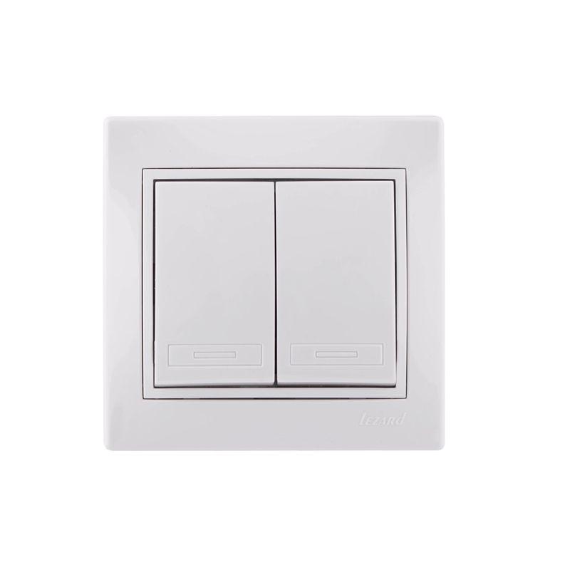 Выключатель двухклавишный белый 10А МИРА LEZARDДизайн<br>• Негорючие детали корпуса из поликарбоната<br>• Специальные выемки под отвертку для демонтажа без повреждения корпуса<br>и накладки<br>• Защита всех деталей корпуса от ультрафиолетовых лучей<br><br>Механизм<br>• Прочная контактная группа (полиамид 66)<br>• Удобные кабельные соединения, благодаря особым шайбам с насечками<br>• Контакты поворотного механизма включения выполнены из нержавеющего<br>металла, что обеспечивает их значительно большую долговечность, чем<br>стандартные 40 000 циклов включения/выключения<br>• Жесткий нержавеющий каркас из металла толщиной 1 мм, изолированный от<br>токопроводящих частей устройства<br>• Система защиты пальцев за счет особой изоляции<br>• Схема электрических соединений<br>• Простые в обращении соединительные двусторонние клеммы с нумерацией<br>Бренд: Lezard; Номинальный ток: 10 А; Подсветка: БЕЗ ПОДСВЕТКИ;
