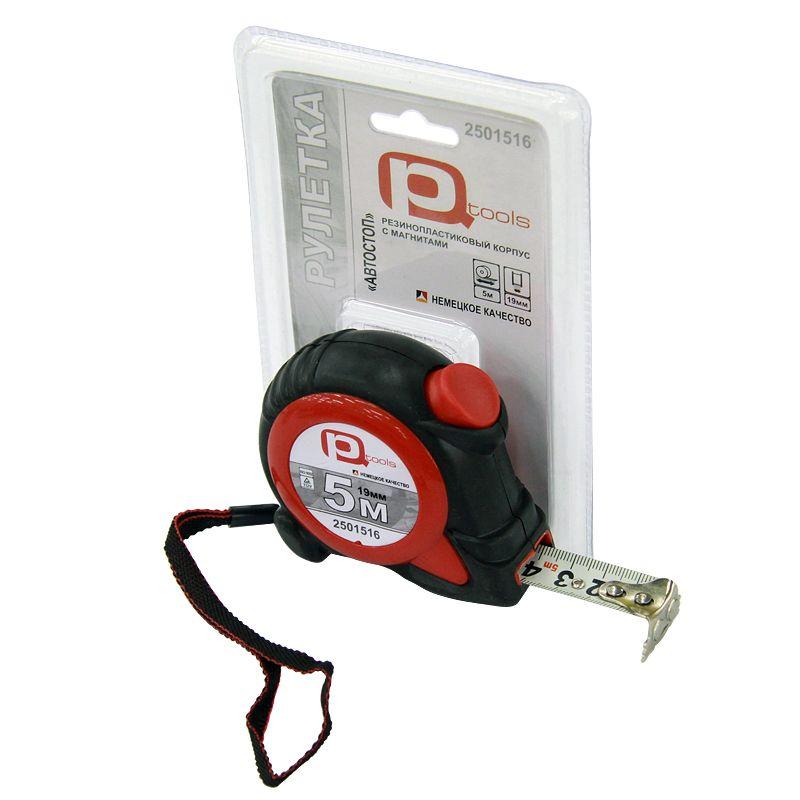 Рулетка 5мх19мм обрезиненная с фиксацией (магнитный крючок), PQTools<br>Бренд: PQtools; Длина ленты: 5 м; Ширина ленты: 19 мм; Конструкция: Классическая; Разметка ленты: Метрическая; Механизм сматывания: Возвратная пружина; Материал ленты: Нержавеющая сталь; Особенности: Фиксатор ленты; Особенности: Магнит; Особенности: Ремешок на запястье; Масса: 270 г; Длина корпуса: 100 мм; Ширина корпуса: 85 мм; Толщина корпуса: 40 мм; Материал корпуса: Пластик; Обрезиненность корпуса: Да;