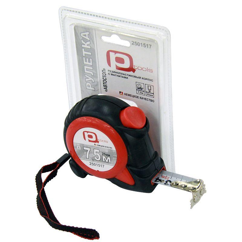 Рулетка 7,5мх25мм обрезиненная с фиксацией (магнитный крючок), PQToolsРулетка 7,5мх25мм обрезиненная с фиксацией<br><br>Рулетка PQTOOLS с обрезиненным корпусом, возвратным механизмом и фиксацией для проведения замеров длиной до 7,5 м.<br><br>НАЗНАЧЕНИЕ:<br><br>Измерение расстояний;<br>Работы по разметке.<br><br>ПРЕИМУЩЕСТВА:<br><br>Долговечность (противоударный резиновый корпус, прочный механизм сматывания,&amp;nbsp;&amp;nbsp;измерительная лента из тонкого металла)<br>Безопасность (корпус из эргономичной мягкой резины, стопор останавливает ленту при сматывании, плавный ход);<br>Удобство в использовании&amp;nbsp;&amp;nbsp;(компактная,&amp;nbsp;&amp;nbsp;легкая, при работе комфортно удерживать в руке, возвратная пружина со стопором, ширина ленты 2,5 см, металлическая клипса для крепления на поясе, ремешок для запястья, крупные цифры на шкале измерения);<br>Точность (II класс точности, отклонение действительной длины не более 0,15мм);<br>Плотная лента из стали не сгибается&amp;nbsp;при разматывании, возможность&amp;nbsp;вертикальных замеров;<br>Тип зацепа &amp;ndash; магнитный&amp;nbsp;Г-образный.<br><br>РЕКОМЕНДАЦИИ:<br><br>Периодически протирать ленту мягкой тканью;<br>При замерах рекомендовано пользоваться одной и той же рулеткой. При измерении разными инструментами размеры могут не совпадать;<br>Используйте выдвижной зацеп аккуратно для исключения его деформации и,&amp;nbsp;&amp;nbsp;впоследствии, погрешности при замерах;<br>Для увеличения срока службы рекомендовано сматывать рулетку аккуратно без щелчка в конце;<br>Рекомендовано при замерах в углах использовать корпус рулетки. После чего его длину прибавить к показаниям ленты;<br>Зацепите шуруп в отверстие на зацепе для быстрого измерения размеров;<br>Для измерения диаметра трубы обхватить трубу рулеткой, измерить ее наружность и разделить число на 3,14.<br><br>МЕРЫ ПРЕДОСТОРОЖНОСТИ:<br><br>Хранить инструмент в отдельном отведенном для него месте;<br>Исключить детские игры инструментом и насадками.<br>Бренд: PQtoo