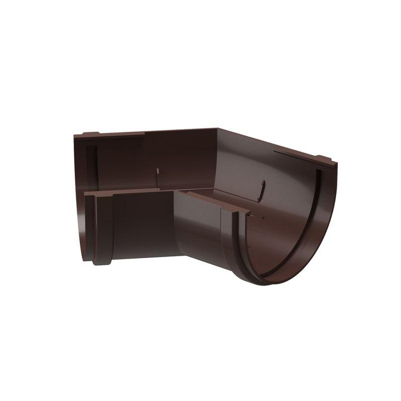Угловой элемент желоба Docke Standart 135° ШоколадУгловой элемент желоба Docke Standart 135&amp;deg; Шоколад<br><br>Угловой элемент желоба &amp;nbsp;круглого сечения Docke предназначен &amp;nbsp;для соединения желобов под углом 135&amp;deg; на внутренних и внешних углах крыш. Коллекция - Standart. Цвет &amp;ndash; шоколад.<br><br>НАЗНАЧЕНИЕ:<br><br>Внутреннее и внешнее соединение желобов по контуру кровли под углом 135&amp;deg;;<br><br>Изменение направления движения &amp;nbsp;воды;<br><br>ПРЕИМУЩЕСТВА:<br><br>Прочность (в основе пластик &amp;nbsp;&amp;ndash; прочный материал, устойчив при изменении температуры воздуха, не трескается, не деформируется на солнечных лучах);<br><br>Легкость и герметичность (система не оказывает нагрузку на крышу и стены зданий, &amp;nbsp;отсутствие дополнительных уплотнителей при установке);<br><br>Долговечность (не требует ухода после установки, производитель дает гарантию 20 лет, устойчива к морозу, низким и высоким температурам, УФ лучам, не выгорает на солнце, не подвержена коррозии и ржавчине);<br><br>Удобство установки (простой монтаж - с самостоятельной установкой может справиться новичок, система водостока в наличии в сборе, легко отрезать по нужным размерам, работа обычными инструментами);<br><br>Дизайн (стойкие яркие цвета, со временем &amp;nbsp;не выгорают на солнце, гармоничное сочетание по цвету со многими строительными материалами, фасадами зданий);<br><br>Универсальность (применение на жилых домах, постройках, беседках, кафе, магазинах, установка на деревянные или кирпичные стены);<br><br>Вода по системе стекает быстро и бесшумно. Угол соединения &amp;nbsp;135&amp;deg;.<br><br>РЕКОМЕНДАЦИИ:<br><br>Установка углового элемента предполагает зазор 2-3 мм между соединительными торцами;<br><br>Углы соединить прижимными замками;<br><br>Монтаж системы при температуре не менее +5&amp;deg;С;<br><br>Резка пластиковых деталей пилой по металлу или ножовкой. Кромки зачищаются наждачной бумагой.<br><br>Рекомендации по уходу:<br><br>Пров