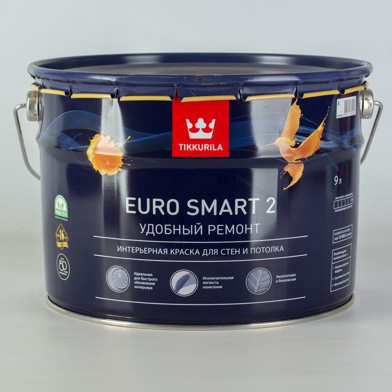 Краска для потолков Tikkurila Euro Smart 2 глубокоматовая, 9лКраска&amp;nbsp;Тиккурила&amp;nbsp;Euro&amp;nbsp;Smart&amp;nbsp;2&amp;nbsp;для&amp;nbsp;потолков&amp;nbsp;и&amp;nbsp;стен&amp;nbsp;глубокоматовая,&amp;nbsp;9л<br><br>Краска&amp;nbsp;водно-дисперсионная&amp;nbsp;глубокоматовая,&amp;nbsp;используемая&amp;nbsp;для&amp;nbsp;высококачественного&amp;nbsp;окрашивания&amp;nbsp;интерьеров,&amp;nbsp;<br><br>не&amp;nbsp;подверженных&amp;nbsp;эксплуатационным&amp;nbsp;нагрузкам.<br><br>НАЗНАЧЕНИЕ:<br><br>Белая&amp;nbsp;краска&amp;nbsp;Тиккурила&amp;nbsp;Euro&amp;nbsp;Smart&amp;nbsp;2&amp;nbsp;для&amp;nbsp;потолков&amp;nbsp;и&amp;nbsp;стен&amp;nbsp;используемая&amp;nbsp;в&amp;nbsp;сухих&amp;nbsp;помещениях&amp;nbsp;жилых&amp;nbsp;домов,&amp;nbsp;а&amp;nbsp;также&amp;nbsp;зданиях&amp;nbsp;<br><br>административной&amp;nbsp;группы.&amp;nbsp;<br><br>Рекомендована&amp;nbsp;к&amp;nbsp;применению&amp;nbsp;в&amp;nbsp;общественных&amp;nbsp;детских&amp;nbsp;и&amp;nbsp;медицинских&amp;nbsp;учреждениях.&amp;nbsp;<br><br>Краску&amp;nbsp;наносят&amp;nbsp;на&amp;nbsp;потолки&amp;nbsp;и&amp;nbsp;стены&amp;nbsp;по&amp;nbsp;минеральным&amp;nbsp;пористым&amp;nbsp;поверхностям:<br>На&amp;nbsp;подготовленные&amp;nbsp;заштукатуренные&amp;nbsp;и&amp;nbsp;зашпаклеванные&amp;nbsp;потолки;<br>По&amp;nbsp;бетонным,&amp;nbsp;цементным&amp;nbsp;и&amp;nbsp;кирпичным&amp;nbsp;основаниям;<br>На&amp;nbsp;подготовленные&amp;nbsp;основания&amp;nbsp;из&amp;nbsp;гипса&amp;nbsp;и&amp;nbsp;гипсокартона;<br>Пригодна&amp;nbsp;к&amp;nbsp;нанесению&amp;nbsp;по&amp;nbsp;древесностружечным&amp;nbsp;и&amp;nbsp;древесноволокнистым&amp;nbsp;поверхностям.<br><br>ПРЕИМУЩЕСТВА:<br><br>Краска&amp;nbsp;для&amp;nbsp;ускоренного&amp;nbsp;обновления&amp;nbsp;интерьера,&amp;nbsp;легконаносимая&amp;nbsp;(образуется&amp;nbsp;глубокоматовый&amp;nbsp;однородный&amp;nbsp;потолок,&amp;nbsp;обладающий&amp;nbsp;высокими&amp;nbsp;декоративными&amp;nbsp;свойствами&amp;nbsp;из-за&amp;nbsp;повышенного&amp;nbsp;содержания&amp;nbsp;белого
