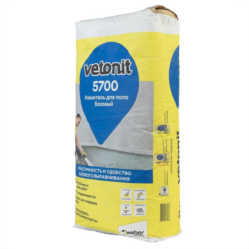 Ровнитель Weber Vetonit 5700, 25 кгРОВНИТЕЛЬ WEBER VETONIT 5700, 25 КГ<br><br>Ровнитель для пола базовый.<br><br>НАЗНАЧЕНИЕ:<br><br>Для базового выравнивания оснований в жилых, общественных, офисных помещениях;<br><br>Ипользуется при ремонте и в новом строительстве по бетонным и цементно-песчаным основаниям;<br><br>Для создания стяжек, связанных с основанием, укрытия трубопроводов, придания полу уклона;<br><br>Применяется в качестве основания под укладку различных напольных покрытий;<br><br>Для внутренних работ в сухих и влажных помещениях.<br><br>ПРЕИМУЩЕСТВА:<br><br>Толщина слоя (от 5 до 70 мм) позволяет выравнивать поверхность за один проход, повышая производительность труда;<br><br>Низкий расход сокращает затраты на материал;<br><br>Повышенная жизнеспособность и хорошая подвижность раствора обеспечивают удобство в работе, снижают трудоемкость создания стяжки.<br><br>ИНСТРУКЦИЯ ПО ПРИМЕНЕНИЮ:<br><br>Приготовление раствора:<br><br>Мешок (25кг) сухой смеси weber.vetonit 5700 высыпать в емкость с 2,75-3,25 л чистой воды (11-13% от веса сухой смеси). Смешивание производят мощной дрелью с насадкой в течение 1-2 минут. Готовый раствор можно использовать в течение 60 минут с момента затворения водой.<br><br>Температура рабочего раствора и основы должна быть в пределах от +10 до +25?С. В холодных условиях рекомендуется применять теплую воду (t &amp;le;+35?С). Не допускать передозировки воды! Излишек воды приводит к расслаиванию раствора, ослабляет прочность пола, замедляет процесс высыхания и является одной из причин образования трещин.<br><br>Требования к основанию:<br><br>Здание должно иметь кровлю. Оконные и дверные проемы закрыты. В процессе работы и в течение, как минимум, 1 недели после их окончания, температура воздуха и поверхности основания должна быть в пределах +10...+25?С. Во время выполнения работ и в последующие 3 дня не допускать воздействия сквозняков и воздушной тяги на поверхность пола. Основание должно быть сухим, твердым, обеспыленным. Подходящей осно