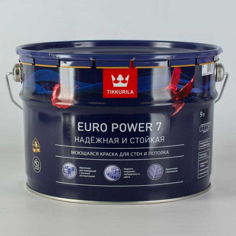 Купить Краска для стен и потолков Tikkurila Euro Power 7 матовая, база А, 9л, Белый