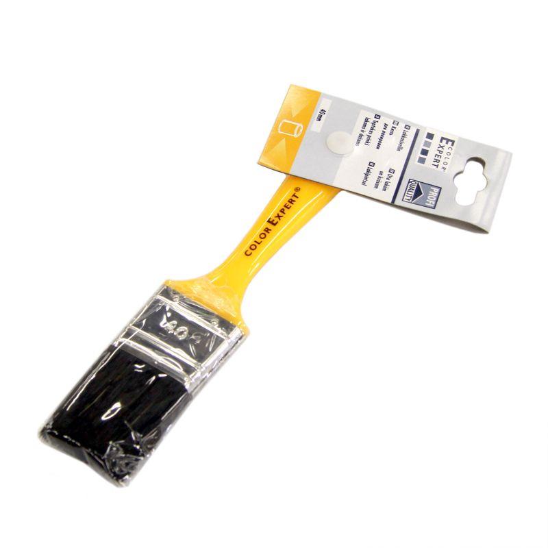 Кисть флейцевая желтая пластмассовая ручка Color Expert 40 ммКисть&amp;nbsp;флейцевая&amp;nbsp;(40&amp;nbsp;мм)&amp;nbsp;Color&amp;nbsp;Expert&amp;nbsp;(черная&amp;nbsp;искусственная&amp;nbsp;щетина)<br><br>Плоская&amp;nbsp;малярная&amp;nbsp;кисть&amp;nbsp;шириной&amp;nbsp;40&amp;nbsp;мм&amp;nbsp;с&amp;nbsp;черной&amp;nbsp;искусственной&amp;nbsp;щетиной,&amp;nbsp;пластмассовой&amp;nbsp;лакированной&amp;nbsp;рукояткой&amp;nbsp;с&amp;nbsp;отверстием&amp;nbsp;для&amp;nbsp;подвешивания,&amp;nbsp;<br><br>жестяной&amp;nbsp;покрытой&amp;nbsp;латунью&amp;nbsp;обтяжкой,&amp;nbsp;для&amp;nbsp;профессионального&amp;nbsp;нанесения&amp;nbsp;лаков&amp;nbsp;на&amp;nbsp;основе&amp;nbsp;растворителя&amp;nbsp;на&amp;nbsp;поверхности&amp;nbsp;небольшой&amp;nbsp;площади.<br><br>НАЗНАЧЕНИЕ:<br><br>Нанесение&amp;nbsp;лаков&amp;nbsp;на&amp;nbsp;основе&amp;nbsp;растворителя&amp;nbsp;на&amp;nbsp;поверхности&amp;nbsp;небольшой&amp;nbsp;площади;<br>Подходит&amp;nbsp;для&amp;nbsp;использования&amp;nbsp;во&amp;nbsp;внутренних&amp;nbsp;и&amp;nbsp;наружных&amp;nbsp;работах.<br><br>ПРЕИМУЩЕСТВА:<br><br>Искусственная&amp;nbsp;(китайская)&amp;nbsp;щетина&amp;nbsp;обладает&amp;nbsp;улучшенной&amp;nbsp;упругостью&amp;nbsp;и&amp;nbsp;высокой&amp;nbsp;износостойкостью;<br>Универсальность&amp;nbsp;использования&amp;nbsp;кисти&amp;nbsp;плоской&amp;nbsp;формы:&amp;nbsp;можно&amp;nbsp;окрашивать&amp;nbsp;все&amp;nbsp;типы&amp;nbsp;плоских&amp;nbsp;поверхностей;<br>Экономия&amp;nbsp;расходного&amp;nbsp;материала&amp;nbsp;(нанесение&amp;nbsp;краски&amp;nbsp;тонкими&amp;nbsp;и&amp;nbsp;аккуратными&amp;nbsp;мазками);<br>Темная&amp;nbsp;щетина&amp;nbsp;заметна&amp;nbsp;на&amp;nbsp;лакируемой&amp;nbsp;поверхности&amp;nbsp;(при&amp;nbsp;случайном&amp;nbsp;выпадении),&amp;nbsp;т.о.&amp;nbsp;ее&amp;nbsp;можно&amp;nbsp;сразу&amp;nbsp;удалить&amp;nbsp;с&amp;nbsp;поверхности;<br>Щетина&amp;nbsp;кисти&amp;nbsp;надежно&amp;nbsp;закреплена&amp;nbsp;металлической&amp;nbsp;обтяжкой:&amp;nbsp;предотвращается&amp;nbsp;выпаден