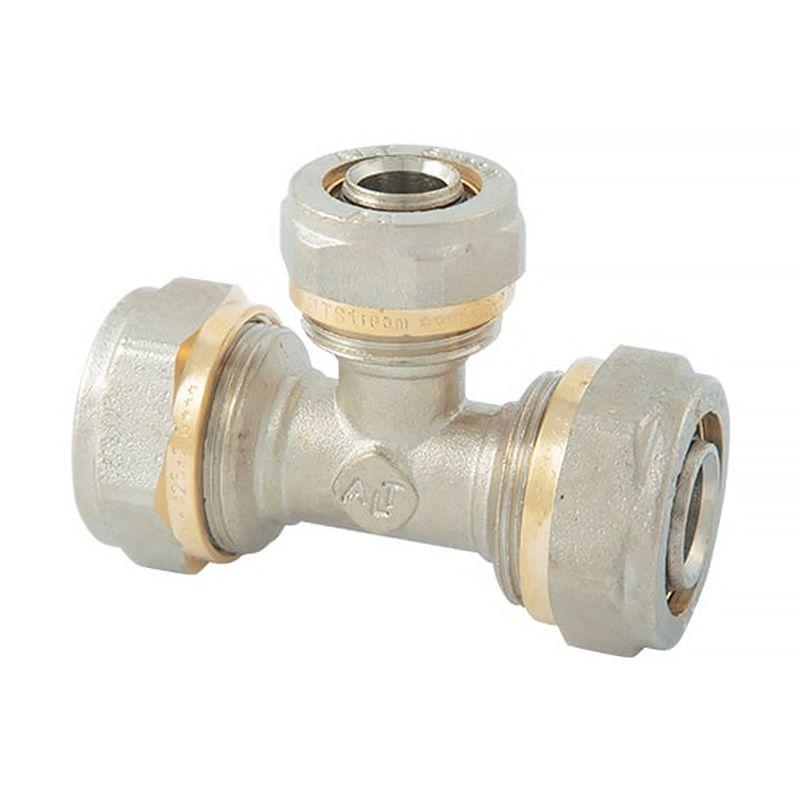 Тройник соединительный (обжим) 16 AltstreamМП Тройник соединительный 16х16х16 (обжим) Altstream<br><br>Тройник для соединения и обжима труб из металлопластика диаметром 16 мм, от компании Altstream.<br><br>НАЗНАЧЕНИЕ:<br><br>Ветвление и разделение потока воды на два отдельных, плюс соединение соединение трёх труб из металлопластика.<br><br>ПРЕИМУЩЕСТВА:<br><br>Лёгкий и простой обжим - достаточно гаечного ключа.<br><br>РЕКОМЕНДАЦИИ:<br><br>Данные фитинги подходят только для труб Altstream из-за их технических характеристик.<br>Страна производитель: Италия; Бренд: Altstream; Тип: Соединительный; Тип монтажа: Обжим; Диаметр: 16 мм; Назначение: Для металлопластиковых труб; Материал: Латунь; Давление: 25 бар;
