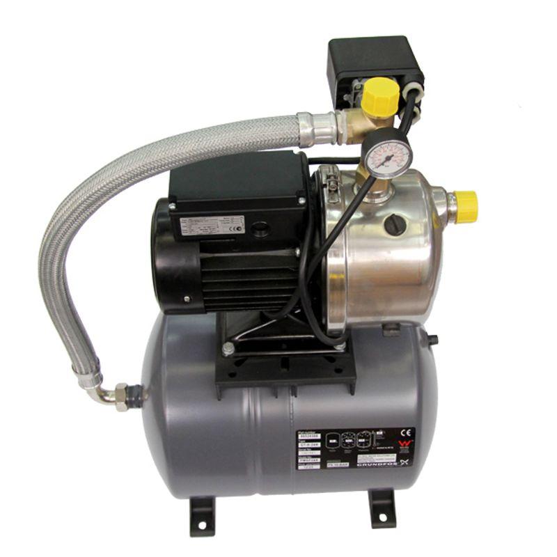 Насосная станция Grundfos JPB 5 бак 24 литра (4651BPBB)Насос JP является самовсасывающим, одноступенчатым, центробежным насосом с осевым всасывающим патрубком и радиальным напорным патрубком. Данный насос имеет встроенный аспиратор с направляющими лопатками для оптимального выполнения самовсасывающей функции.<br>Особенности и преимущества<br>Самовсасывающий;<br>Подъем с глубины до 8 метров благодаря эжектору;<br>Корпус, вал, рабочее колесо и соединительные штуцеры насоса изготовлены из нержавеющей стали;<br>Стабильность работы даже при наличии воздуха в жидкости;<br>Прочная конструкция, обеспечивающая возможность стационарной установки насоса;<br>Двгатель имеет встроенный термовыключатель и не требует дополнительной защиты;<br><br>Вид: Поверхностная; Применение: Поддержание давления в системе водоснабжения; Применение: Водоснабжение; Рабочая среда: Чистая вода; Объем бака: 24 л; Производительность: 3,5 м?/час; Глубина всасывания: 8 м; Высота подъема воды: 40 м; Минимальная температура воды: 0 °С; Максимальная температура воды: + 40 °С; Мощность: 775 Вт; Напряжение: 1 х 230 В; Длина: 500 мм; Ширина: 280 мм; Высота: 665 мм; Вес: 17,6 кг; Присоединительный диаметр: 1 ; Материал корпуса: Нержавеющая сталь; Степень защиты: IP 44; Комплектация: Реле давления; Комплектация: Манометр; Комплектация: Насос jp; Комплектация: Мембранный бак; Комплектация: Кабель; Комплектация: Штекер; Бренд: Grundfos; Страна производитель: Германия; Модель: Jpb 5;