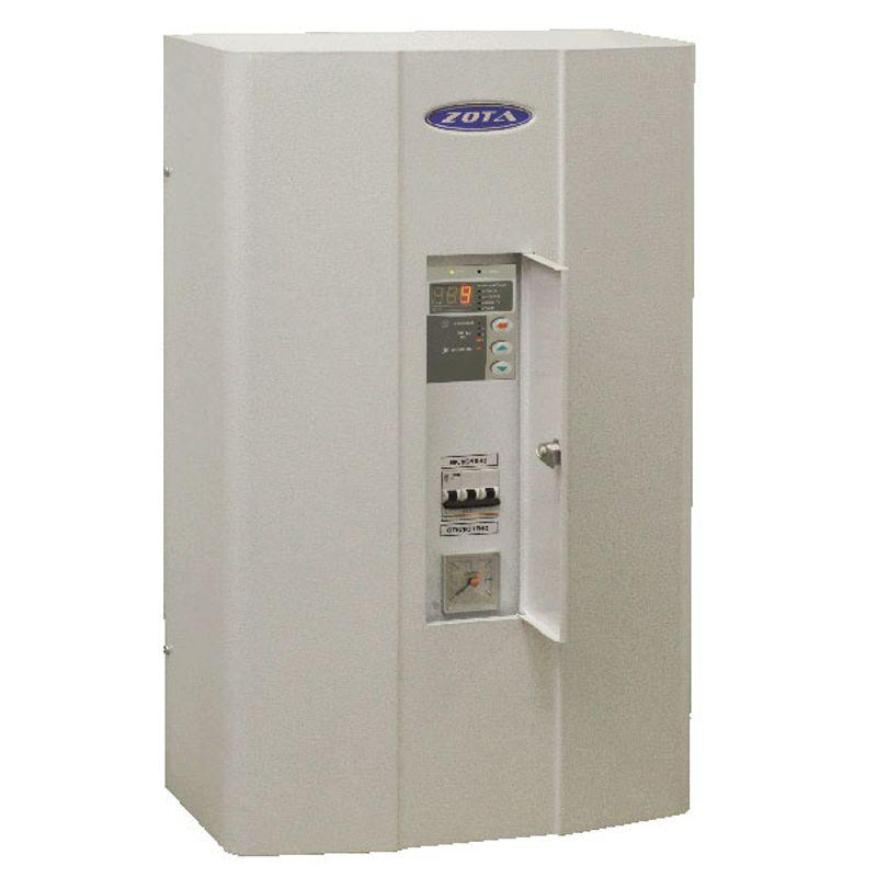 Котел электрический Zota 9 MKЭлектрический котел отопления ZOTA MK 9 кВт (3-6-9 кВт/220 В)<br><br>Настенная электрическая&amp;nbsp;мини-котельная&amp;nbsp;номинальной тепловой мощностью 3-9 кВт, со встроенным расширительным баком объемом 12 литров,<br><br>циркуляционным насосом, блоком управления, двумя датчиками температуры воздуха, фильтром грубой очистки, датчиками перегрева и уровня воды,&amp;nbsp;<br><br>воздухоотводчиком, предохранителем, защитным кожухом, кронштейном и шурупами для крепления, для использования в автономных системах отопления<br><br>с давлением не более 0,3 МПа в жилых и хозяйственно-бытовых помещениях площадью до 90 кв.м.<br><br>НАЗНАЧЕНИЕ:<br><br>Автономное теплоснабжение жилых и хозяйственно-бытовых помещений площадью до 90 кв. м.;<br>Нагрев воды для технических целей (в системах водных подогреваемых полов).<br><br>ПРЕИМУЩЕСТВА:<br><br>Формат&amp;nbsp;мини-котельная: имеет в комплекте все необходимые составляющие автономной системы отопления (расширительный бак, циркуляционный насос, предохранительный клапан, манометр, блок безопасности);<br>Удобная эксплуатация:<br>- встроенная панель управления,<br>- блокировка панели управления от случайного изменения заданных параметров;<br>- звуковой сигнал аварийного режима,<br>- индикация температуры воды в системе, температуры воздуха внутри и снаружи помещения, аварийного режима, режима работы насоса, состояния термостата, ступеней&amp;nbsp;&amp;nbsp;мощности,<br>- самовозвратные&amp;nbsp;аварийные блокировки (при устранении неисправности котел продолжает работать по заранее заданным настройкам);<br>Экономичное потребление энергии благодаря интеллектуальной системе управления мощностью:<br>- трехступенчатая регулировка мощности 3/6/9 кВт,<br>- регулировка работы насоса,<br>- погодозависимое&amp;nbsp;регулирование,<br>- встроенный термостат с часами реального времени с возможностью подключения&amp;nbsp;двухтарифного&amp;nbsp;счетчика;<br>Возможность установки модуля &amp;laquo;GSM Lux&amp;raquo; (до