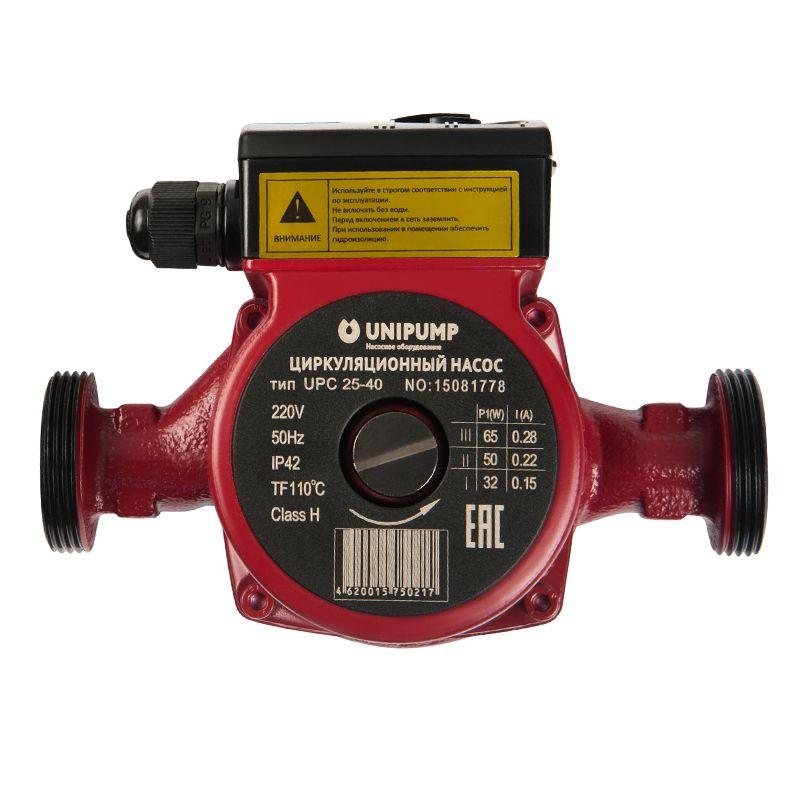 Насос циркуляционный Unipump UPС 25-40 180Циркуляционные насосы серии UPC — с «мокрым» ротором предназначены для перекачивания рабочих жидкостей в системах отопления при стабильном или слабо меняющемся расходе. Насосы имеют три ступени мощности (кроме моделей UPC 25-160, UPC 25-200, UPC 32-120), регулировка мощности производится механическим трехпозиционным переключателем.<br><br>Область применения:<br><br>Для перекачивания теплоносителя в системах отопления с постоянным расходом или слабо меняющимся расходом.<br><br>Рабочие жидкости — чистая вода малой жесткости, чистые, маловязкие, неагрессивные и невзрывоопасные жидкости без твердых или волокнистых включений, а также примесей, содержащих минеральные масла.<br><br>Материал корпуса насоса — чугун<br>Монтажная длина — 180 мм<br>Максимальное допустимое давление в системе — 10 бар<br>Допустимая максимальная температура теплоносителя — до +110°С<br>Допустимая максимальная температура окружающей среды — до +40°С<br>Параметры электрической сети — 230В, 50Гц<br><br>Производитель оборудования: «UNIPUMP» (Россия)<br>Вид: Поверхностный; Тип: Циркуляционный; Применение: Для систем отопления; Применение: Для ГВС; Производительность: Q max 3,5 м?/час; Максимальный напор: 4 м; Минимальная температура рабочей среды: + 2 °С; Максимальная температура рабочей среды: + 110 °С; Режим управления: Ручной; Количество скоростей: 3; Мощность: 62 Вт; Напряжение: 220 В; Монтажная длина: 180 мм; Вес: 3 кг; Присоединительный диаметр: 1 1/2 ; Тип ротора: Мокрый; Материал корпуса: Чугун; Степень защиты: IP 42; Комплектация: С гайками; Бренд: Unipump; Страна производитель: Россия; Модель: Upc 25-40; Гарантия: 5 лет;