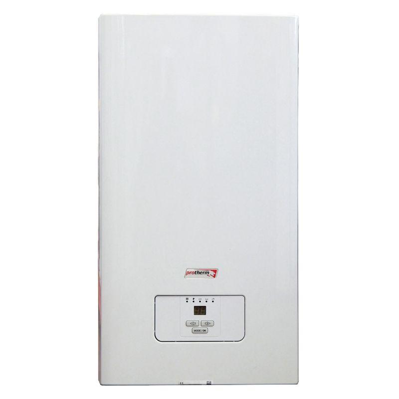 Электрический котел Protherm Скат 24 КR 13 (0010008957)Электрический котел отопления Protherm Скат 24&amp;nbsp;КR&amp;nbsp;13 (0010008957)<br><br>Настенный электрический&amp;nbsp;одноконтурный&amp;nbsp;отопительный котел номинальной тепловой мощностью 24 кВт,<br><br>с встроенным двухступенчатым циркуляционным насосом с автоматическим&amp;nbsp;воздухоотводчиком, встроенным расширительным баком объемом 10 л,<br><br>для закрытых отопительных систем и приготовления горячей воды во внешнем бойлере (комплектуется отдельно),<br><br>для установки в квартирах, жилых домах и дачных домиках площадью до 240 кв.м.<br><br>НАЗНАЧЕНИЕ:<br><br>Применение в замкнутых отопительных системах;<br>Нагрев воды для системы теплых полов (водных);<br>Использования для горячего водоснабжения (при подключении бойлера);<br><br>ПРЕИМУЩЕСТВА:<br><br>Многофункциональность: может использоваться для отопления, обеспечения горячего водоснабжения (при дополнительной комплектации внешним бойлером),<br><br>а также для системы водяных подогреваемых полов;<br>Может быть частью системы отопления, состоящей из нескольких котлов (для увеличения общей мощности);<br>Высокий КПД 99,5% на протяжении всего срок эксплуатации существенно снижает затраты на отопление;<br>Экономичность: электроника контролирует включение циркуляционного насоса (работает только в нужное время),<br><br>электронная регулировка мощности (возможность установить 1/3, 2/3 мощности и полную мощность);<br>Легкость монтажа: не требует подключения к дымоходу и газопроводу;<br>Компактный размер (315x410x740 мм): не нуждается в специальном помещении для установки;<br>Может работать от сети напряжением 380 В;<br>Удобство использования: возможность быстрого и точного регулирования (12-ступенчатая регулировка мощности)<br><br>с помощью панели управления с жидкокристаллическим дисплеем (с отображением настроенных параметров),<br><br>светодиодными индикаторами включения прибора, мощности, давления и температуры воды отопления и горячего водоснабжения;<
