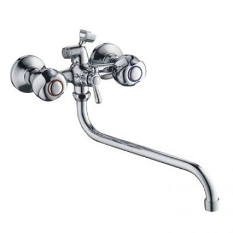 Смеситель д/ванны Accoona 77 A7377 (с 2-я рукоятками, держ для лейки) +длин.излив A7130S хром