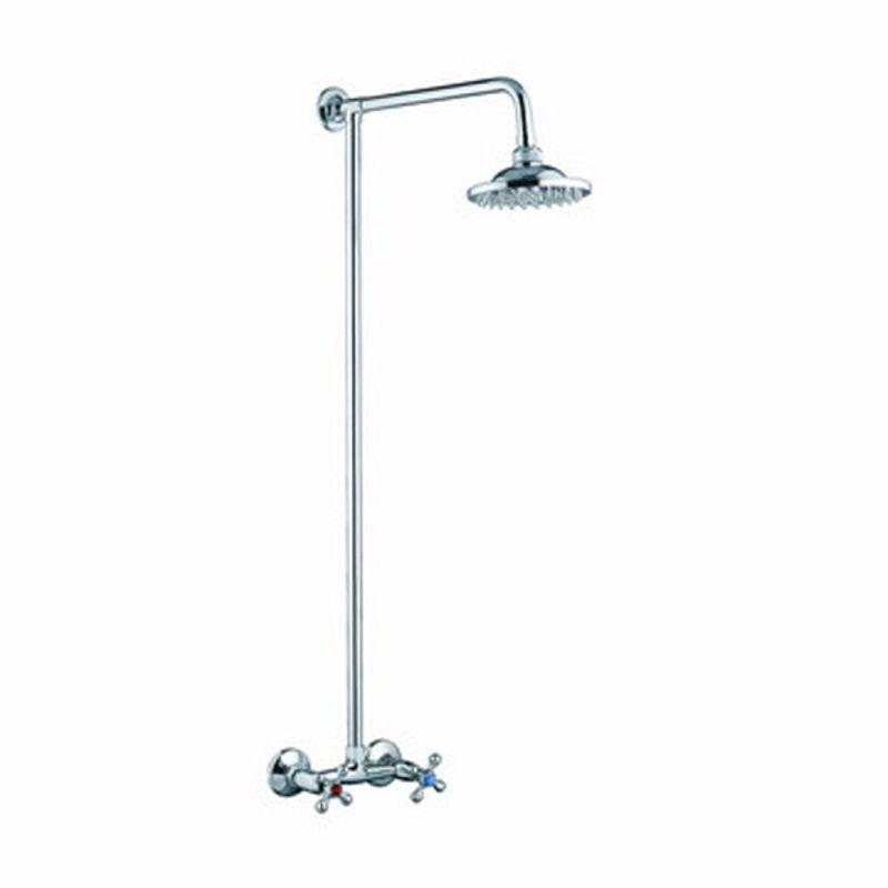 Купить Штанга со смесителем и тропическим душем Accoona А8176(смеситель с 2-я рукоятками) Латунь.хром в кор.2шт, высота 1м, Хром