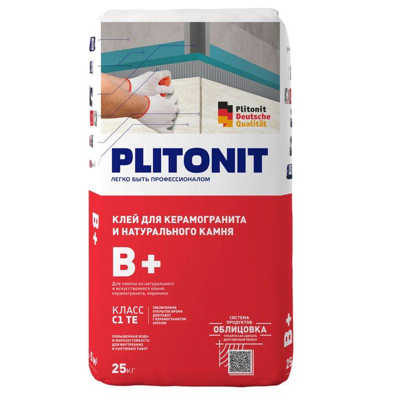 Купить Клей для плитки Плитонит В+, 25 кг, Plitonit, Серый
