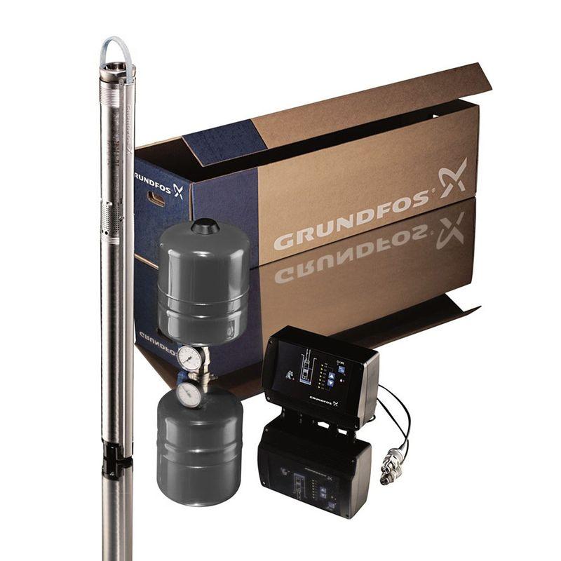 Скважинный насос Grundfos SQE 2-85 комплект (96524506)<br>Вид: Погружной; Тип: Скваженный; Рабочая среда: Чистая вода; Производительность: Q max 2 м?/час; Высота подъема воды: 109 м; Минимальная температура воды: +1 С°; Максимальная температура воды: + 35 °С; Мощность: 1150 Вт; Напряжение: 1х230в В; Высота: 825 мм; Диаметр насоса: 74 ; Вес: 6.2 кг; Присоединительный диаметр: 11/4 ; Материал корпуса: Нержавеющая сталь; Степень защиты: 68; Класс изоляции: B; Бренд: Grundfos; Страна производитель: Дания; Модель: Sqe2-85;