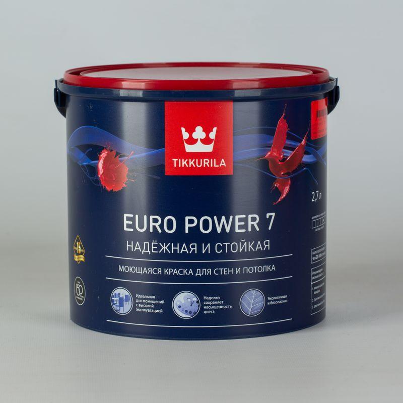 Купить Краска для стен и потолков Tikkurila Euro Power 7 матовая, база А, 2, 7л, Белый