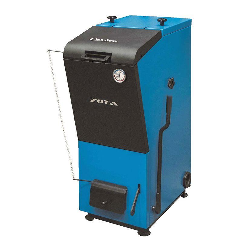 Котел твердотопливный ZOTA Carbon 32 (для работы на угле)Котел твердотопливный уголь Carbon (32кВт,&amp;nbsp;Dдым=149,рез.прис&amp;nbsp;1 1/2)<br><br>Твердотопливный стальной котёл с одним контуром отопления и мощностью 32 кВт.<br><br>НАЗНАЧЕНИЕ:<br><br>Основное назначение данных котлов &amp;ndash; отопление бытовых и производственных объектов.<br><br>ПРЕИМУЩЕСТВА:<br><br>Твердотопливные котлы могут работать без электросети.<br>Долгий процесс горения обеспечен гибким и точным регулированием силы воздуха, который подаётся в топку котла.<br>Горение можно настроить до длительности в 10-12 часов за счёт функциональной конструкции камеры сгорания.<br>Увеличенное КПД котла и&amp;nbsp;газоплотность&amp;nbsp;за счёт удачного расположения зольника &amp;ndash; прямо на&amp;nbsp;водоохлаждаемой&amp;nbsp;поверхности.<br>Можно регулировать силу третичного воздуха с помощью терморегулятора.<br><br>РЕКОМЕНДАЦИИ:<br><br>Наиболее подходящее топливо для котлов данного &amp;ndash; типа, подвергнутый калибровке уголь с фракцией от 10 до 50 мм.<br><br>МЕРЫ ПРЕДОСТОРОЖНОСТИ:<br><br>В одной комнате с котлом не рекомендуется хранить такие воспламеняющиеся и горючие предметы как бумагу, древесину, лаки и краски.<br>Бренд: Zota; Модель: Carbon; Мощность: 32 кВт; Вид топлива: Уголь; Количество контуров: 1; Диаметр дымохода: 150 мм; Дополнительные функции: Тэн;