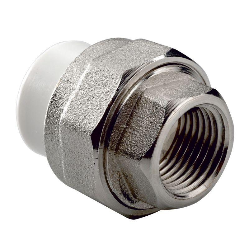 Муфта полипропиленовая (переходник) разъемная 20х3/4 ВР РВК<br>Тип резьбы: Вр; Диаметр резьбы: 3/4 ; Диаметр: 20 мм; Длина: 37 мм; Тип монтажа: Резьбовое; Тип монтажа: Пайка; Дополнительные свойста: Разъемный; Давление: 20 Бар; Максимальная рабочая температура: + 65 °С; Материал: Полипропилен; Сфера применения: Горячее водоснабжение; Сфера применения: Холодное водоснабжение; Сфера применения: Радиаторное отопление; Срок эксплуатации: 50 лет; Бренд: РВК; Страна производитель: Россия; Совместимость: Для ПП трубопроводов РВК;