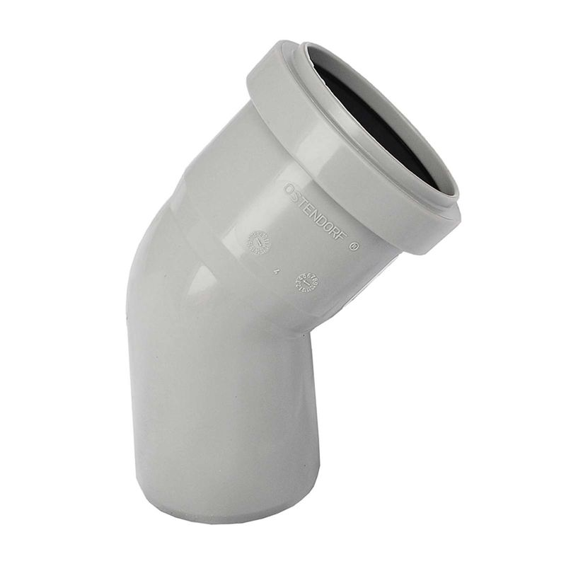 Отвод канализационный бесшумный Ostendorf 110х45°<br>Тип канализации: Внутренняя; Материал: Полипропилен; Диаметр: 110 мм; Угол поворота: 45 °; Максимальная температура рабочей среды: + 95 °C; Дополнительно: Бесшумный; Бренд: Ostendorf; Страна производитель: Германия;