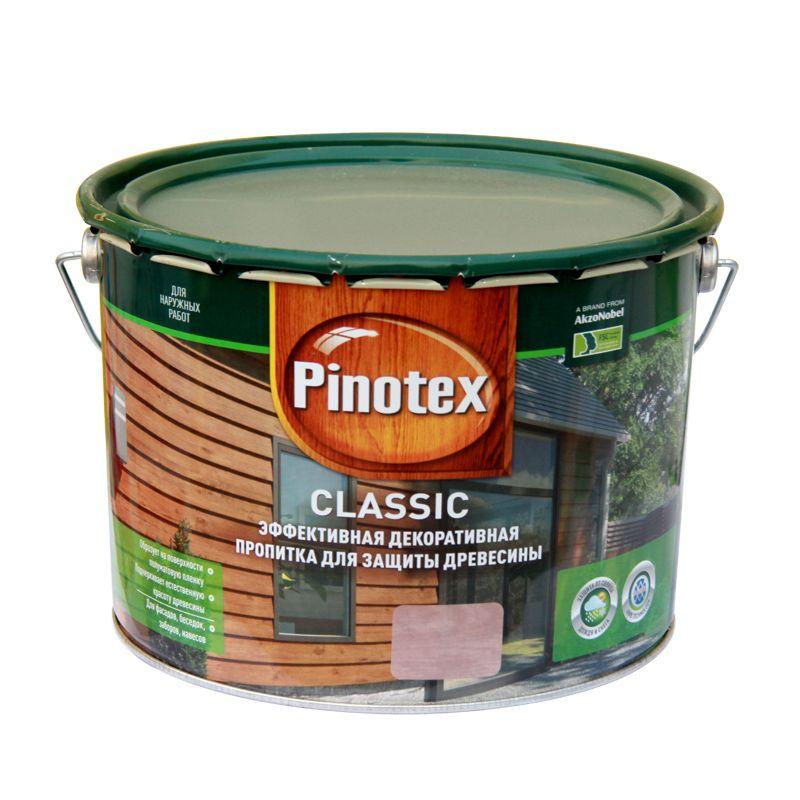 Декоративно-защитное средство д/дерева Pinotex Classic Дуб, 10лДекоративно-защитная пропитка для древесины. Легко наносится и быстро<br>впитывается в поверхность древесины, образуя полуматовую пленку.<br>Защищает от солнца, дождя и снега. Содержит активные добавки против<br>плесени и синевы. Подчеркивает естественную красоту древесины.<br>Рекомендуется применять в системе с грунтовкой Pinotex Base.<br>Время полного высыхания - 24-48 ч. Расход - 9-16 м2/л<br>Бренд: Pinotex; Название: Classic; Объем: 10 л; Состав: Алкидная; Цвет производителя: Дуб; Особые свойства: Антисептик; Расход для пиленой древесины: 5-9 м?/л; Тип работ: Для наружных работ;