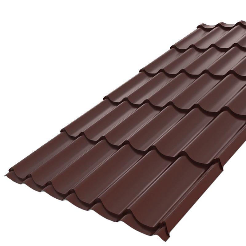 Металлочерепица Монтеррей 1190мм (ПЭ-8017-0,45) Шоколад<br>Высота профиля: 14 мм; Покрытие: ПЭ (полиэстер); Производитель: Металлпрофиль; Тип профиля: Монтеррей; Толщина металла: 0,45 мм; Толщина покрытия: 25 мкм; Цвет: Коричневый; Шаг волны профиля: 350 мм; Ширина: 1190 мм; RAL: 8017; Вертикальный нахлест: 150 мм; Вертикальный шаг волны: 1100 мм; Монтажная ширина: 183,3 мм; Цвет производителя: Шоколад;
