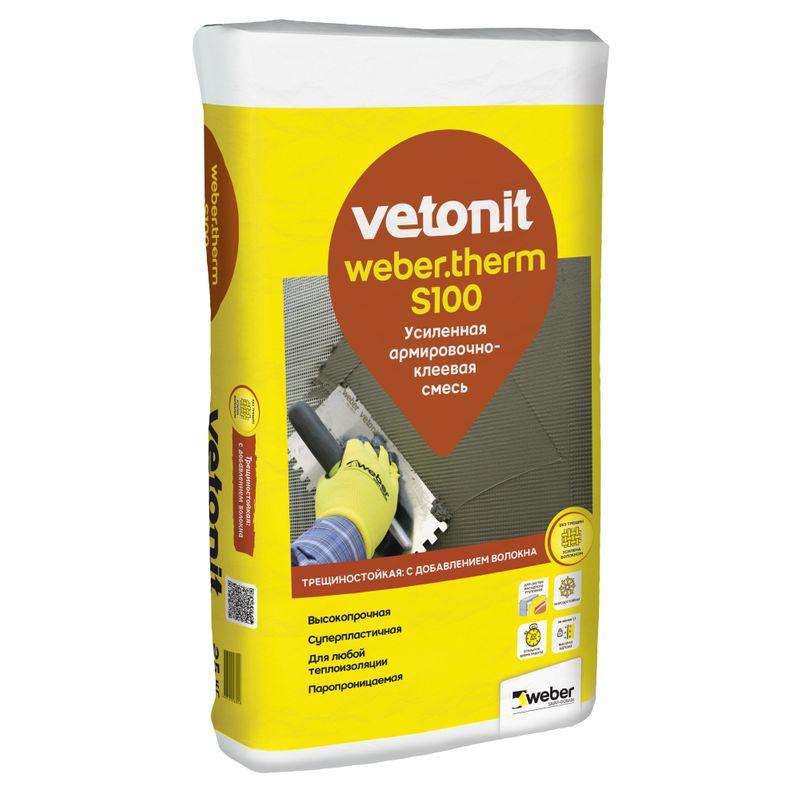 Купить Штукатурно-клеевая смесь для монтажа ППС и минваты Weber. Vetonit therm S100, 25кг, Weber.Vetonit, Серый