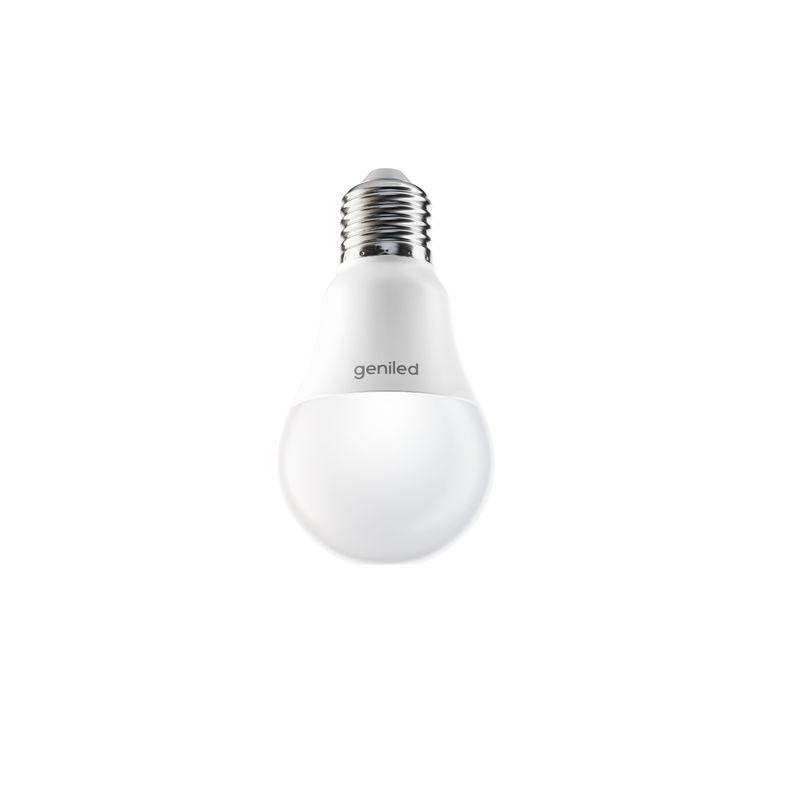 Лампа светодиодная стандарт 7Вт E27 холодный свет GENILED<br>Гарантия: 2 года; Страна производитель: Китай; Бренд: Geniled; Назначение: Бытовая; Назначение: Для светильников; Типоразмер цоколя: Е27; Длина: 110 мм; Диаметр: 60 мм; Форма лампы: Груша; Цвет лампы: Белая; Цвет свечения: Холодный; Номинальное напряжение: 180-240 В; Потребляемая мощность: 7 Вт; Световой поток: 700 Лм; Цветовая температура: 4200 К; Светорегулирование: Недиммируемая; Срок службы: 40000 ч; Температура эксплуатации: От -20°С до +40°С;