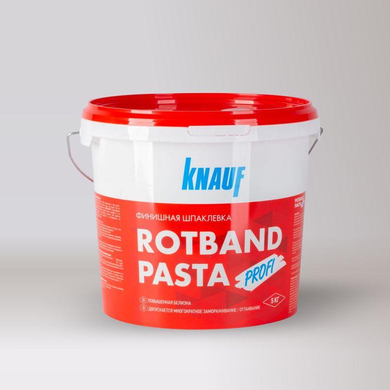 Шпатлевка KNAUF Rotband Pasta Profi, 5 кгШпатлевка KNAUF Rotband Pasta Profi, 5кг<br><br>Готовая пастообразная финишная шпаклевка на виниловой основе.&amp;nbsp;<br><br>НАЗНАЧЕНИЕ:<br><br>Для шпаклевания поверхности гипсокартонных или гипсоволокнистых листов, оштукатуренных и бетонных поверхностей, пазогребеневых плит, стеклохолста;<br><br>При подготовке под высококачественную окраску, оклейку обоями, перед нанесением венецианской штукатурки и других финишных материалов;<br><br>Для внутренних работ.&amp;nbsp;<br><br>ПРЕИМУЩЕСТВА:<br><br>Повышенная белизна;<br><br>Высокая трещиностойкость;<br><br>Оптимальная пластичность;<br><br>Высокая адгезия;<br><br>Не мелится;<br><br>Выдерживает многократное замораживание.&amp;nbsp;<br><br>ИНСТРУКЦИЯ ПО ПРИМЕНЕНИЮ:<br><br>Подготовка основания:<br><br>Температура шпаклевки, основания и воздуха в помещении не должны быть менее +10 &amp;deg;С.<br><br>Гипсокартонные листы должны быть прочно смонтированы на несущем каркасе. Штукатурные и бетонные основания должны быть ровными, сухими, отчищенными от пыли, грязи и отслоений. Большие неровности или повреждения необходимо выровнять с применением смеси КНАУФ-Фуген и высушить. Грунтование поверхности не требуется.&amp;nbsp;<br><br>Приготовление раствора:<br><br>Перед началом работы смесь перемешать. При необходимости добавить немного воды (не более 30 мл на 1 кг) и снова перемешать. ВНИМАНИЕ! Чрезмерное разбавление шпаклевки водой может привести к ее сильной усадке и снижению адгезии. Для работы использовать чистые емкости и инструменты из нержавеющей стали.&amp;nbsp;<br><br>Выполнение работ:<br><br>Нанести слой шпаклёвки толщиной до 2 мм ручным или механизированным способом;<br><br>Разгладить шпаклевку шпателем;<br><br>Шлифовать поверхности после высыхания, например, наждачной бумагой Р240 или с более мелким зерном;<br><br>Удалить пыль.<br><br>Нанесение последующего слоя производить после полного высыхания предыдущего.<br><br>Емкости и инструменты сразу после использования промыть водой.<b