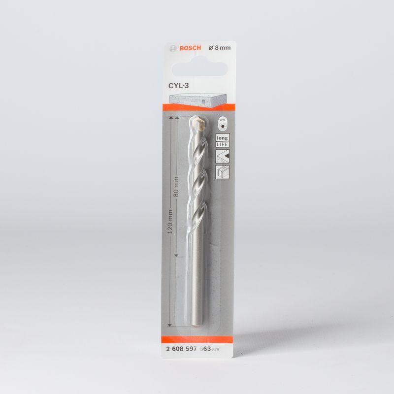 Сверло по бетону 8х120мм, BOSCH<br>Бренд: Bosch; Конструкция рабочей части: Спиральное; Обрабатываемый материал: Камень; Обрабатываемый материал: Кирпич; Обрабатываемый материал: По бетону; Хвостовая часть: Цилиндрическая; Тип: Сверло; Диаметр: 8 мм; Общая длина: 120 мм; Длина рабочей части: 80 мм; Тип по форме отверстия: Цилиндрический; Материал хвостовика: Сталь; Материал рабочей части: Твердосплавный наконечник; Количество предметов: 1; Набор: Нет;