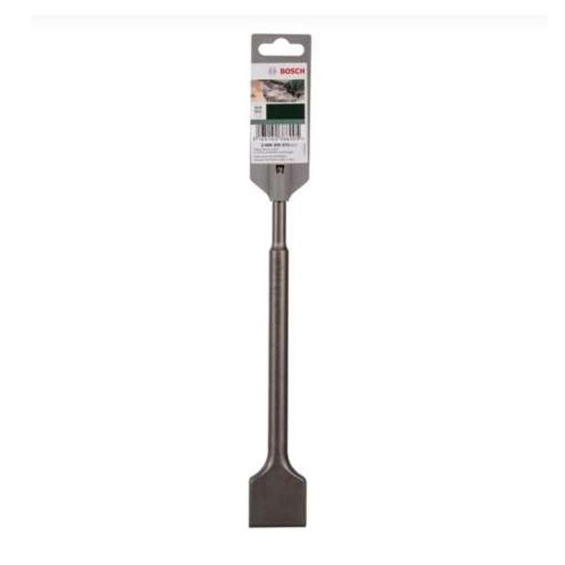 Зубило лопаточное 40x250мм SDS+, BOSCHЗубило лопаточное 40x250мм SDS+ BOSCH<br><br>Лопаточное зубило BOSCH для легких и средних перфораторов и отбойных молотков. Используется для удаления штукатурки,<br><br>застывшей грязи или бетона. Ширина рабочей кромки 40 мм.<br><br>НАЗНАЧЕНИЕ:<br><br>Для перфораторов и отбойных молотков;<br>Удаляет лишнюю штукатурку, грязь, старый бетон;<br>Работы со стальными конструкциями;<br>Демонтаж плитки.<br><br>ПРЕИМУЩЕСТВА:<br><br>Устанавливается в насадку для долбления или в патрон отбойных молотков по системе SDS-plus;<br>Хвостик диаметром 10мм, в патроне углублен на 4 см;<br>При необходимости вращение блокируется;<br>Лопаточная форма наконечника позволяет легко производить демонтаж твердых плоских поверхностей;<br>Износоустойчивость (Наконечник из твердых металлов, закаленных специальным способом (пескоструйная обработка), зубило самозатачивающиеся, повторная заточка, долгий срок службы);<br>Производительность (быстрая скорость работы по демонтажу за счет широкой рабочей кромки (40мм), длина лопаточного резца увеличена в 2 раза, увеличенная производительность выемки).<br><br>РЕКОМЕНДАЦИИ:<br><br>Используйте зубило только по назначению;<br>Перед работой инструмент рекомендовано осмотреть на исключение видимых дефектов в работе;<br>Не используйте зубило с деформированным хвостиком;<br>Рекомендовано очищать пыльник патрона от пыли перед ремонтными работами;<br>Так как инструмент в процессе работы может нагреваться &amp;ndash; используйте перчатки;<br>Для продолжительности срока службы насадки &amp;ndash; держать ее в чистоте, без строительной грязи и воды.<br><br>МЕРЫ ПРЕДОСТОРОЖНОСТИ:<br><br>Хранить инструмент в отдельном отведенном для него месте;<br>Исключить детские игры инструментом и насадками;<br>Берегите руки при работе с нагретыми насадками.<br>Бренд: Bosch; Форма рабочей части: Лопаточное; Тип хвостика: SDS+; Длина: 250 мм; Материал: Углеродистая инструментальная сталь; Ширина рабочей части: 40 мм; Страна производства: Германи