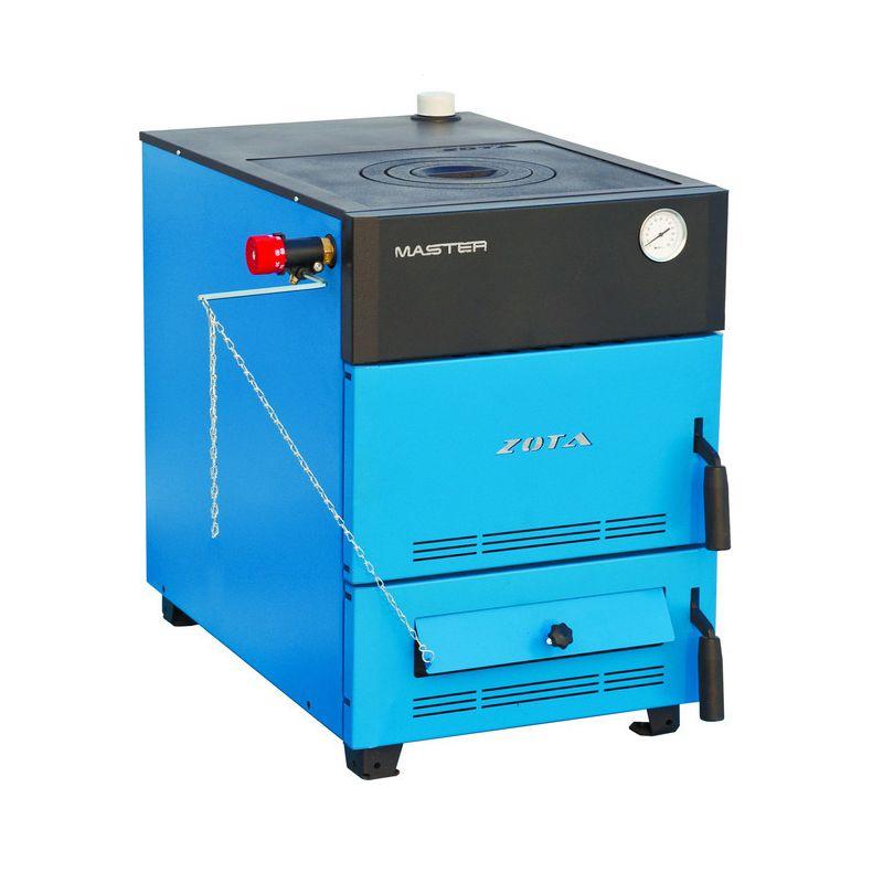 Котел твердотопливный ZOTA MASTER 32Котел твердотопливный MASTER 32кВт Zota&amp;nbsp;(1 конф., сталь,Dдым150,резьба.п/ТЭНБ 2)<br><br>Котёл от Zota модели Master, мощностью 32 кВт, работает на твёрдом топливе.<br><br>НАЗНАЧЕНИЕ:<br><br>Котлы предназначены для отопительных автономных систем в жилых загородных и промышленных объектах с общей площадью помещений до 320 кв.м.<br><br>ПРЕИМУЩЕСТВА:<br><br>Современный и эргономичный котёл.<br>Котлы независимы от электроэнергии,<br>Комбинированный теплообменник нового поколения обеспечивает котлу высокую&amp;nbsp;газоплотность&amp;nbsp;и хорошую тепловую изоляцию.<br>Котёл вентилируется и охлаждается через специальные отверстия на внешней обшивке.<br>Помимо этого, теплообменник также высокий КПД.<br>Есть возможность для установки в котёл механического регулятора тяги и блока&amp;nbsp;ТЭНов&amp;nbsp;с мощностью от 3 до 9 кВт.<br>Применение данного блока вместе с пультом дистанционного управления позволит минимизировать провалы температуры в процессе эксплуатации котла.<br>За счёт передовой конструкции камеры сгорания можно&amp;nbsp;использовать дрова длиной до 70 см.<br><br>РЕКОМЕНДАЦИИ:<br><br>Рекомендуем вам использовать дрова с влажностью не более 20% Сырые дрова и уголь будут&amp;nbsp;негативно влиять на КПД котла.<br><br>МЕРЫ ПРЕДОСТОРОЖНОСТИ:<br><br>Не держите возле котла предметы, которые могут легко воспламеняться. В помещении вместе с котлом не должно находиться горючих материалов, таких как краски, бензин или масло.<br>Страна производитель: Россия; Бренд: Zota; Модель: Master; Мощность: 32 кВт; Вид топлива: Уголь, дрова; Количество контуров: 1; Количество конфорок: 1; Диаметр дымохода: 150 мм; Сторона подключения: Правое подключение; Материал: Сталь; Дополнительные функции: Тэн; Ширина: 500 мм; Вес: 174 кг;