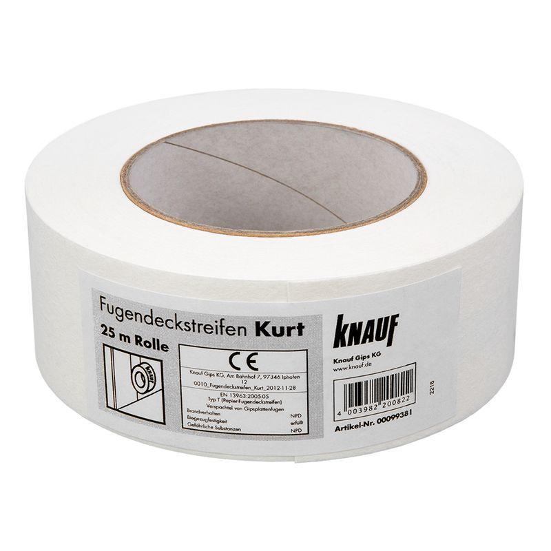 Лента для швов Knauf Kurt, 50мм?25мКНАУФ-Курт — это армирующая лента, изготовленная из белой специальной<br>бумаги с армирующими синтетическими волокнами.<br>Предназначена для армирования стыков гипсокартонных и гипсоволокнистых<br>листов разных видов и с любыми типами кромок и предотвращения появления<br>трещин при отделочных работах.<br><br>Бренд: Knauf; Материал: Бумажная; Ширина: 50  мм.; Длина: 25  м.; Наименование: Курт; Область применения: Для укрепления стыков гипсокартонных и гипсоволокнистых листов;