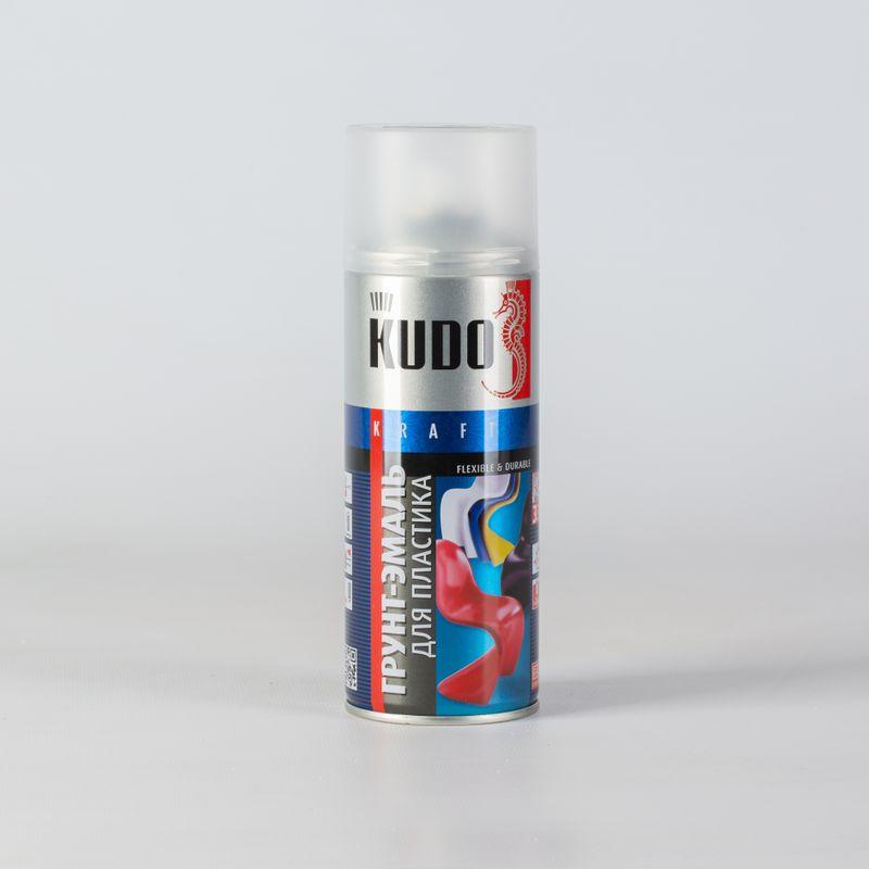 Грунт-эмаль для пластика KUDO белая (6003) 0,52лГрунт-эмаль для пластика белая (Ral 6002), Kudo (0,52 л)<br><br>Грунт-эмаль на акриловой основе для окрашивания пластиковых поверхностей.<br><br>НАЗНАЧЕНИЕ:<br><br>Окраска поверхностей из большинства видов пластика (кроме полиэтилена и полиуретана).<br><br>ПРЕИМУЩЕСТВА:<br><br>Эмаль отколерована &amp;nbsp;в соответствии с европейским стандартом Ral;<br><br>Не требуется предварительное грунтование поверхности;<br><br>Компоненты, входящие в состав эмали, повышают устойчивость поверхности к истиранию и механическим воздействиям;<br><br>Может применяться для внутренних и наружных работ;<br><br>Обладает хорошей укрывистостью и надежной адгезией к окрашиваемой поверхности;<br><br>Благодаря удобной форме выпуска (аэрозольный баллон), эмаль легко наносится на труднодоступные места;<br><br>Быстро сохнет (при температуре +20&amp;deg; градусов время высыхания на отлип составляет 20 минут, полное - 2 часа);<br><br>Образует эластичную поверхность, устойчивую к растрескиванию даже в условиях низких температур;<br><br>Возможность транспортировки при температуре от -40 до +50 градусов.<br><br>РЕКОМЕНДАЦИИ:<br><br>Рекомендации по работе:<br><br>Перед началом работ баллон необходимо встряхивать в течение 2-3 минут;<br><br>Рекомендуемая температура нанесения от +10 до +30 градусов;<br><br>Нанесение эмали возможно только на сухую, загрунтованную и отшлифованную поверхность;<br><br>Рекомендуется наносить эмаль на расстоянии 25-30 см в 2-3 слоя (сушка между слоями 10 минут);<br><br>После окрашивания, баллон необходимо перевернуть вверх дном и продолжать распылять, пока эмаль не перестанет поступать, это поможет избежать засорения головки распылителя.<br><br>Рекомендации по хранению:<br><br>Температура хранения от +5 до +25 градусов;<br><br>Не допускайте прямого воздействия солнечных лучей и нагрева свыше +50 градусов;<br><br>Храните вдали от нагревательных приборов и источников огня.<br><br>МЕРЫ БЕЗОПАСНОСТИ:<br><br>Работы рекомендуется про