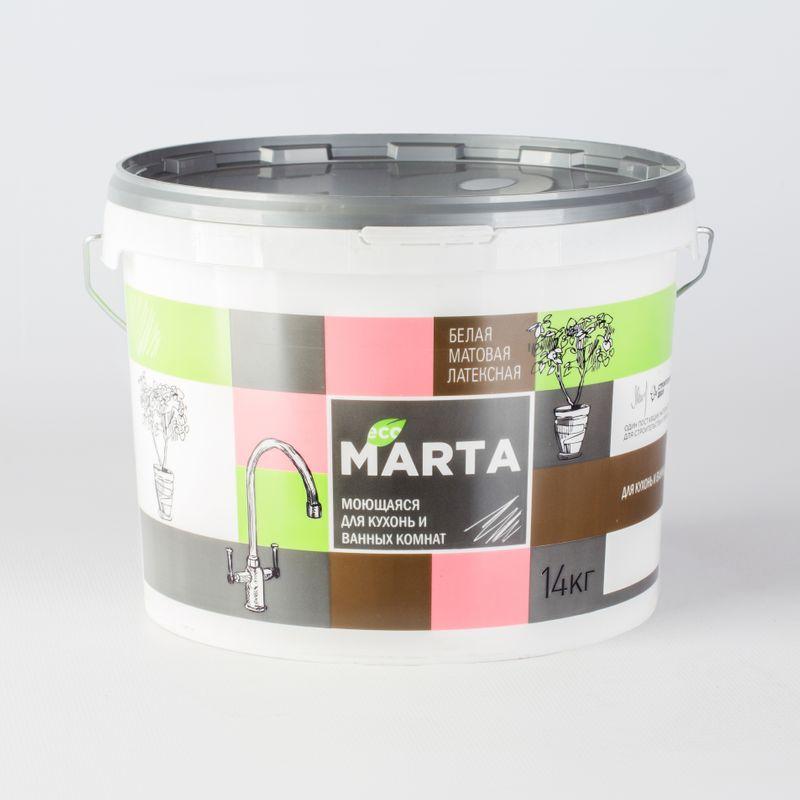 Краска для кухонь и ванных комнат MARTA ECO, белая, 14кг