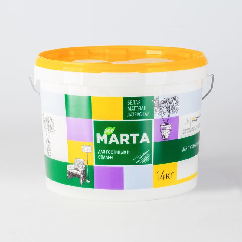 Краска для гостиных и спален MARTA ECO, белая, 14кг