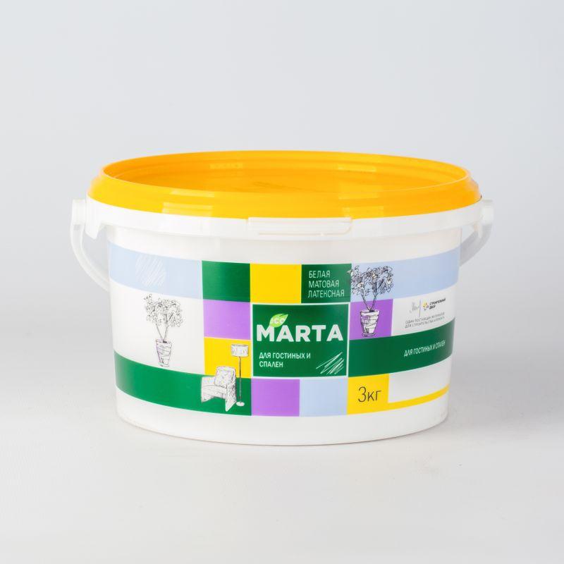 Краска для гостиных и спален MARTA ECO, белая, 3кг