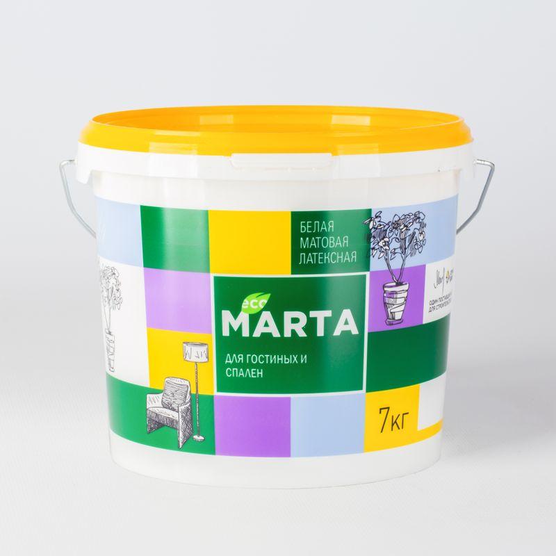 Краска для гостиных и спален MARTA ECO, белая, 7кг