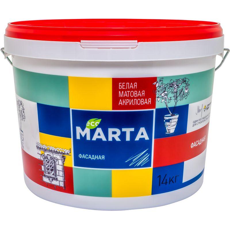 Краска фасадная MARTA ECO, белая, 14кгКраска&amp;nbsp;Марта&amp;nbsp;фасадная&amp;nbsp;белая,&amp;nbsp;14кг<br><br>Краска&amp;nbsp;атмосферостойкая&amp;nbsp;акриловая&amp;nbsp;водно-дисперсионная,&amp;nbsp;используемая&amp;nbsp;для&amp;nbsp;окрашивания&amp;nbsp;стен&amp;nbsp;внутри&amp;nbsp;<br><br>и&amp;nbsp;снаружи&amp;nbsp;помещений.<br><br>НАЗНАЧЕНИЕ:<br><br>Белая&amp;nbsp;краска&amp;nbsp;Марта&amp;nbsp;для&amp;nbsp;покраски&amp;nbsp;стен&amp;nbsp;внутри&amp;nbsp;и&amp;nbsp;снаружи&amp;nbsp;помещений&amp;nbsp;жилых&amp;nbsp;домов,&amp;nbsp;административных&amp;nbsp;зданий,&amp;nbsp;детских&amp;nbsp;<br><br>и&amp;nbsp;медицинских&amp;nbsp;учреждений.&amp;nbsp;Краску&amp;nbsp;наносят&amp;nbsp;следующие&amp;nbsp;основания:<br>На&amp;nbsp;оштукатуренные,&amp;nbsp;зашпаклеванные&amp;nbsp;бетонные&amp;nbsp;и&amp;nbsp;кирпичные&amp;nbsp;стены;<br>На&amp;nbsp;основания&amp;nbsp;из&amp;nbsp;ДСП,&amp;nbsp;ДВП&amp;nbsp;и&amp;nbsp;асбоцементных&amp;nbsp;листов;<br><br>ПРЕИМУЩЕСТВА:<br><br>Высокая&amp;nbsp;стойкость&amp;nbsp;к&amp;nbsp;неблагоприятным&amp;nbsp;погодным&amp;nbsp;условиям&amp;nbsp;(к&amp;nbsp;перепадам&amp;nbsp;температур,&amp;nbsp;атмосферным&amp;nbsp;осадкам);<br>Эстетичная&amp;nbsp;(краска&amp;nbsp;не&amp;nbsp;оставляет&amp;nbsp;комков,&amp;nbsp;потеков&amp;nbsp;и&amp;nbsp;брызг,&amp;nbsp;обеспечивает&amp;nbsp;качественное&amp;nbsp;равномерное&amp;nbsp;покрытие);<br>Матовая&amp;nbsp;структура&amp;nbsp;краски&amp;nbsp;маскирует&amp;nbsp;мелкие&amp;nbsp;погрешности&amp;nbsp;поверхности;<br>Окрашенную&amp;nbsp;поверхность&amp;nbsp;можно&amp;nbsp;мыть&amp;nbsp;с&amp;nbsp;применением&amp;nbsp;неабразивных&amp;nbsp;моющих&amp;nbsp;средств;<br>Универсальна,&amp;nbsp;подходит&amp;nbsp;для&amp;nbsp;окраски&amp;nbsp;зданиях&amp;nbsp;любого&amp;nbsp;типа;<br>Практически&amp;nbsp;не&amp;nbsp;имеет&amp;nbsp;запаха,&amp;nbsp;так&amp;nbsp;как&amp;nbsp;составе&amp;nbsp;отсутствуют&amp;nbsp;органические&amp;nbsp;разбавители;<br>Экологичная&amp;nbsp;(рекомендована&amp;nbsp;д