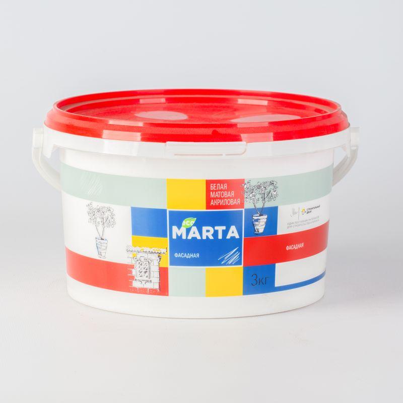 Краска фасадная MARTA ECO, белая, 3кгКраска&amp;nbsp;Марта&amp;nbsp;фасадная&amp;nbsp;белая,&amp;nbsp;3кг<br><br>Краска&amp;nbsp;атмосферостойкая&amp;nbsp;акриловая&amp;nbsp;водно-дисперсионная,&amp;nbsp;используемая&amp;nbsp;для&amp;nbsp;окрашивания&amp;nbsp;стен&amp;nbsp;внутри&amp;nbsp;<br><br>и&amp;nbsp;снаружи&amp;nbsp;помещений.<br><br>НАЗНАЧЕНИЕ:<br><br>Белая&amp;nbsp;краска&amp;nbsp;Марта&amp;nbsp;для&amp;nbsp;покраски&amp;nbsp;стен&amp;nbsp;внутри&amp;nbsp;и&amp;nbsp;снаружи&amp;nbsp;помещений&amp;nbsp;жилых&amp;nbsp;домов,&amp;nbsp;административных&amp;nbsp;зданий,&amp;nbsp;детских&amp;nbsp;<br><br>и&amp;nbsp;медицинских&amp;nbsp;учреждений.&amp;nbsp;Краску&amp;nbsp;наносят&amp;nbsp;следующие&amp;nbsp;основания:<br>На&amp;nbsp;оштукатуренные,&amp;nbsp;зашпаклеванные&amp;nbsp;бетонные&amp;nbsp;и&amp;nbsp;кирпичные&amp;nbsp;стены;<br>На&amp;nbsp;основания&amp;nbsp;из&amp;nbsp;ДСП,&amp;nbsp;ДВП&amp;nbsp;и&amp;nbsp;асбестоцементных листов;<br><br>ПРЕИМУЩЕСТВА:<br><br>Высокая&amp;nbsp;стойкость&amp;nbsp;к&amp;nbsp;неблагоприятным&amp;nbsp;погодным&amp;nbsp;условиям&amp;nbsp;(к&amp;nbsp;перепадам&amp;nbsp;температур,&amp;nbsp;атмосферным&amp;nbsp;осадкам);<br>Эстетичная&amp;nbsp;(краска&amp;nbsp;не&amp;nbsp;оставляет&amp;nbsp;комков,&amp;nbsp;потеков&amp;nbsp;и&amp;nbsp;брызг,&amp;nbsp;обеспечивает&amp;nbsp;качественное&amp;nbsp;равномерное&amp;nbsp;покрытие);<br>Матовая&amp;nbsp;структура&amp;nbsp;краски&amp;nbsp;маскирует&amp;nbsp;мелкие&amp;nbsp;погрешности&amp;nbsp;поверхности;<br>Окрашенную&amp;nbsp;поверхность&amp;nbsp;можно&amp;nbsp;мыть&amp;nbsp;с&amp;nbsp;применением&amp;nbsp;неабразивных&amp;nbsp;моющих&amp;nbsp;средств;<br>Универсальна,&amp;nbsp;подходит&amp;nbsp;для&amp;nbsp;окраски&amp;nbsp;зданиях&amp;nbsp;любого&amp;nbsp;типа;<br>Практически&amp;nbsp;не&amp;nbsp;имеет&amp;nbsp;запаха,&amp;nbsp;так&amp;nbsp;как&amp;nbsp;составе&amp;nbsp;отсутствуют&amp;nbsp;органические&amp;nbsp;разбавители;<br>Экологичная&amp;nbsp;(рекомендована&amp;nbsp;для&amp;n