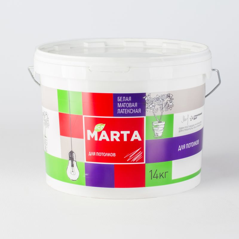 Краска для потолков MARTA ECO, белая, 14кгКраска&amp;nbsp;Марта&amp;nbsp;для&amp;nbsp;потолков&amp;nbsp;супербелая&amp;nbsp;14кг<br><br>Краска&amp;nbsp;латексная&amp;nbsp;водно-дисперсионная&amp;nbsp;матовая,&amp;nbsp;используемая&amp;nbsp;для&amp;nbsp;окрашивания&amp;nbsp;потолков&amp;nbsp;внутри&amp;nbsp;сухих&amp;nbsp;помещений.<br><br>НАЗНАЧЕНИЕ:<br><br>Белая&amp;nbsp;краска&amp;nbsp;Марта&amp;nbsp;для&amp;nbsp;потолков&amp;nbsp;применяется&amp;nbsp;в&amp;nbsp;сухих&amp;nbsp;помещениях&amp;nbsp;таких&amp;nbsp;как&amp;nbsp;гостиные&amp;nbsp;и&amp;nbsp;спальни&amp;nbsp;в&amp;nbsp;жилых&amp;nbsp;домах,&amp;nbsp;<br><br>в&amp;nbsp;общественных&amp;nbsp;детских&amp;nbsp;и&amp;nbsp;медицинских&amp;nbsp;учреждениях.&amp;nbsp;Краску&amp;nbsp;наносят&amp;nbsp;на&amp;nbsp;потолки&amp;nbsp;по&amp;nbsp;следующим&amp;nbsp;основаниям:<br>На&amp;nbsp;потолки,&amp;nbsp;оклеенные&amp;nbsp;структурными&amp;nbsp;и&amp;nbsp;стеклообоями;<br>На&amp;nbsp;оштукатуренные,&amp;nbsp;зашпаклеванные&amp;nbsp;бетонные&amp;nbsp;и&amp;nbsp;кирпичные&amp;nbsp;потолки;<br>На&amp;nbsp;подготовленные&amp;nbsp;потолки&amp;nbsp;из&amp;nbsp;гипсокартона.<br><br>ПРЕИМУЩЕСТВА:<br><br>Эстетичная&amp;nbsp;(краска&amp;nbsp;не&amp;nbsp;оставляет&amp;nbsp;потеки&amp;nbsp;и&amp;nbsp;брызги,&amp;nbsp;обеспечивает&amp;nbsp;качественное&amp;nbsp;равномерное&amp;nbsp;окрашивание);<br>Высокое&amp;nbsp;содержания&amp;nbsp;белого&amp;nbsp;пигмента&amp;nbsp;в&amp;nbsp;составе&amp;nbsp;продукта&amp;nbsp;создает&amp;nbsp;эффект&amp;nbsp;белоснежной&amp;nbsp;шелковистой&amp;nbsp;поверхности;<br>Матовая&amp;nbsp;структура&amp;nbsp;краски&amp;nbsp;маскирует&amp;nbsp;мелкие&amp;nbsp;погрешности&amp;nbsp;поверхности&amp;nbsp;потолка;<br>Латексная&amp;nbsp;пленка,&amp;nbsp;образующаяся&amp;nbsp;после&amp;nbsp;высыхания,&amp;nbsp;позволяет&amp;nbsp;проводить&amp;nbsp;легкую&amp;nbsp;сухую&amp;nbsp;уборку;<br>Высокая&amp;nbsp;адгезия&amp;nbsp;с&amp;nbsp;любой&amp;nbsp;поверхностью&amp;nbsp;(бетон,&amp;nbsp;дерево,&amp;nbsp;б