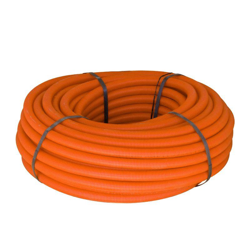 Труба ПНД гофрированная 25 мм с зондом оранжевая (бухта 75м)
