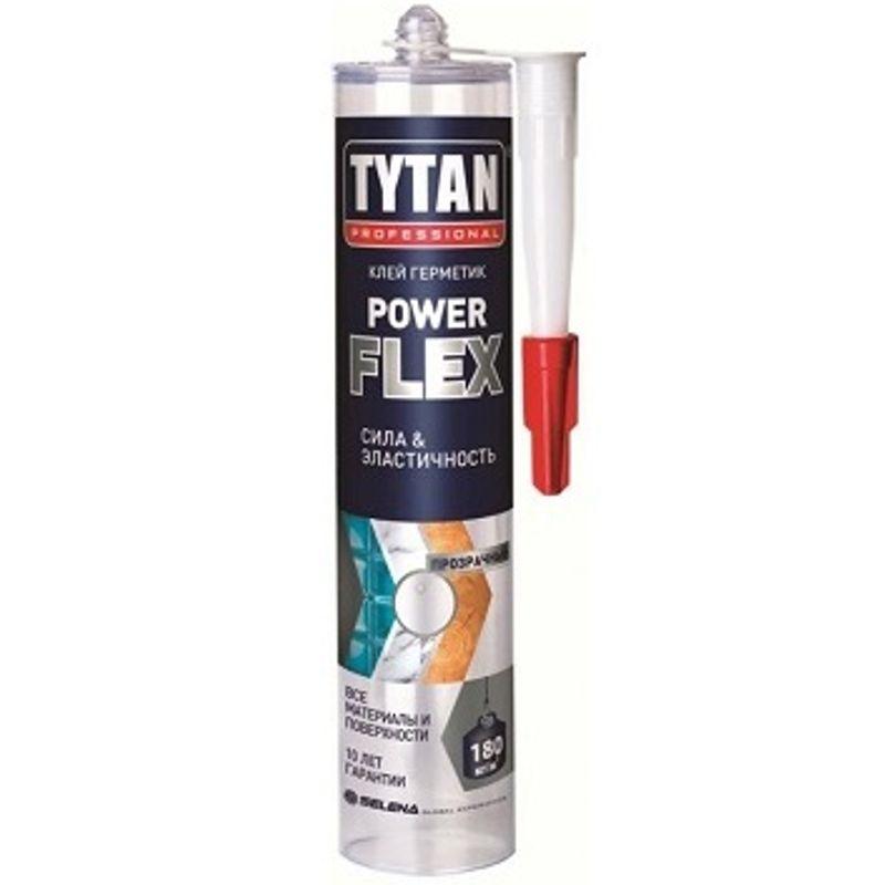 Жидкие гвозди Tytan Power Flex (бесцветный), 290 млКлей монтажный Tytan Power flex прозрачный, 290мл<br><br>Универсальный клей на полимерной основе для монтажных и ремонтных работ<br><br>НАЗНАЧЕНИЕ:<br><br>Применяется для монтажа зеркал, стекла, элементов из камня, гипса, кирпича, металлов, твердых пластиков, керамической плитки, пенопласта, древесины;<br>Подходит для работ внутри помещений.<br><br>ПРЕИМУЩЕСТВА:<br><br>Долговечность (влагостойкость; высокая степень сцепления к различным поверхностям; морозостойкость &amp;ndash; выдерживает 3 цикла заморозки/оттаивания;<br><br>эластичность и герметичность шва на протяжении всего времени эксплуатации);<br>Безопасность &amp;ndash; в составе не содержатся вещества, опасные для здоровья человека;<br>Универсальность (возможность использования с различными поверхностями &amp;ndash; бетон, дерево, металл, пластик, керамика,<br><br>стекло, гипсокартон; состав позволяет работать как с пористыми, так и непористыми материалами);<br>Удобство в использовании (полное застывание происходит через 24 часа; нанесение при помощи монтажного пистолета; образует прозрачный шов).<br><br>РЕКОМЕНДАЦИИ:<br><br>При работе используйте перчатки;<br>Производите работы в хорошо вентилируемом помещении, после окончания работ &amp;ndash; проветрите помещение;<br>Перед началом работы выровняйте, очистите и обезжирьте рабочую поверхность;<br>Применяйте клей при температуре от +15C до +25 C;<br>До отверждения клея очистите инструменты или поверхность с помощью ацетона;<br>После того, как клей застыл, его можно убрать только механически;<br>Храните клей при температуре от +5 C до +25 C.<br>Бренд: Tytan Professional; Название: Power flex; Цвет: Бесцветный; Вес: 290 гр; Применение: Универсальный; Склеиваемые материалы: Бетон; Склеиваемые материалы: Пластиковые панели; Склеиваемые материалы: Керамическая плитка; Склеиваемые материалы: Дерево; Склеиваемые материалы: Металл;