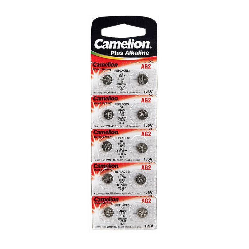 Элемент питания G02 (LR726) для часов CAMELION<br>Бренд: Camelion; Модель: Plus Alkaline; Вид батареек: Таблетка; Тип батарейки: Алкалиновая; Типоразмер: LR726; Емкость: 25 мА·ч; Номинальное напряжение: 1,5 В; Количество в упаковке: 10 шт; Температура эксплуатации: +10 °C; Страна производитель: Китай;