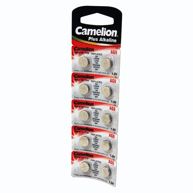 Элемент питания G09 (LR45) для часов CAMELION<br>Бренд: Camelion; Модель: Plus Alkaline; Вид батареек: Таблетка; Тип батарейки: Алкалиновая; Типоразмер: LR936; Емкость: 50 мА·ч; Номинальное напряжение: 1,5 В; Количество в упаковке: 10 шт; Температура эксплуатации: +10 °C; Страна производитель: Китай;