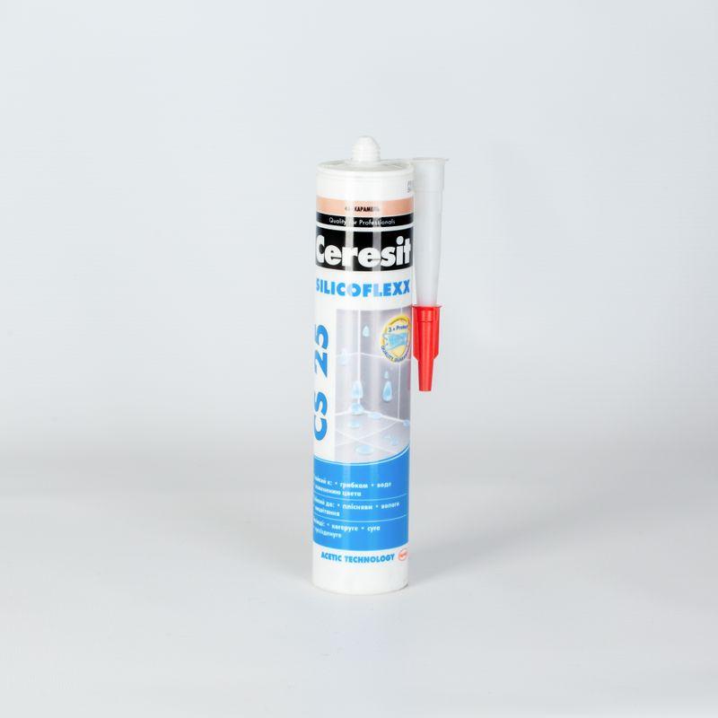 Затирка Ceresit CS25 эластичная силиконовая (карамель), 280 млЗатирка-герметик Ceresit CS25 силиконовая (карамель), 280мл<br><br>Готовый герметик для швов и стыков с эмалированными, фаянсовыми и стеклянными поверхностями, для использования во влажных помещениях, цвет карамель, пластиковый картридж 280 мл. &amp;nbsp;<br><br>НАЗНАЧЕНИЕ:<br><br>Гидроизоляция угловых и примыкающих к ваннам, раковинам и другим фаянсовым предметам швов и стыков плиточных облицовок;<br><br>Заделка окон и рам;<br><br>Герметизация водосточных труб;<br><br>Использование на горизонтальных и вертикальных поверхностях;<br><br>Применение во внутренних и наружных работах;<br><br>Применение в помещениях с высоким уровнем влажности (кухня, душевая, ванная и туалетная комнаты);<br><br>Применение на эмалированных, фарфоровых, стеклянных и фаянсовых поверхностях.<br><br>ПРЕИМУЩЕСТВА:<br><br>Высокая эластичность позволяет применять для герметизации подвижных деталей и элементов;<br><br>Температурный диапазон эксплуатации от -40&amp;ordm;C до +120 &amp;ordm;C позволяет применять состав в наружных работах;<br><br>Водостойкость позволяет применять затирку во влажных помещениях;<br><br>Устойчива к поражению грибком и плесенью;<br><br>Легко моется;<br><br>Ширина шва 5-30 мм;<br><br>Идеально гладкая текстура для получения идеально ровных швов;<br><br>Состав готов к использованию &amp;ndash; нет необходимости тратить время на приготовление смеси;<br><br>Широкий диапазон проведения работ (от +5&amp;ordm;C до +40&amp;ordm;C);<br><br>Экологически безопасна.<br><br>РЕКОМЕНДАЦИИ<br><br>Производите работу в строительной защищающей от загрязнения одежде. &amp;nbsp;<br><br>Перед началом работы удалите старую затирку; очистите и обезжирьте ацетоном кромки швов; заклейте малярным скотчем все декоративные поверхности, предотвратив их загрязнение.<br><br>Убедитесь, что глубина шва равна половине ширины шва (но не более 12 мм).<br><br>Не используйте на поверхностях, контактирующих с продуктами питания, питьевой водой, а та