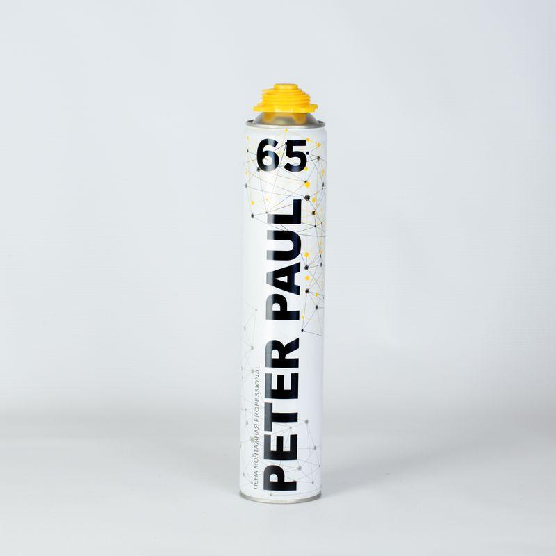 Пена монтажная Peter Paul 65 профессиональная, 900 млПена монтажная профессиональная PETER PAUL 65 900 мл<br><br>Полиуретановая однокомпонентная профессиональная (пистолетная) монтажная пена, используемая при проведении ремонтных и монтажных работ с высоким стандартом качества.<br><br>НАЗНАЧЕНИЕ:<br><br>Монтаж, уплотнение и фиксация окон, подоконников и дверных коробов;<br><br>Заполнение и герметизация трещин, швов, пустот и щелей;<br><br>Изоляция электрических сетей, коммуникаций и труб;<br><br>Звуко- и теплоизоляция перегородок, полов, крыш, систем кондиционирования;<br><br>Монтаж технических коммуникаций;<br><br>Фиксация стеновых панелей и изоляции.<br><br>ПРЕИМУЩЕСТВА:<br><br>Производительность до 65л пены (при температуре +20&amp;deg;C и влажности 50%);<br><br>Безотказный клапан, обеспечивающий высокую стойкость к залипанию;<br><br>Отличное сцепление с разными поверхностями (исключения - силикон, полиэтилен, тефлон и т.п.);<br><br>Точность, экономичность, качество и контроль дозирования, обеспечивается нанесением с помощью специального пистолета;<br><br>Затвердевший полиуретан имеет равномерную плотную мелкопористую структуру без воздушных карманов;<br><br>Низкое вторичное расширение (отсутствие деформации);<br><br>Обладает высокими звуко - и теплоизоляционными свойствами;<br><br>Полное затвердевание через 18 часов при температуре +23&amp;deg;C.<br><br>РЕКОМЕНДАЦИИ:<br><br>Работы производите в перчатках и в хорошо проветриваемых помещениях;<br><br>Берегите баллон от огня (находится под давлением);<br><br>При случайном попадании пены на конструкции (пол, окно и т.п.), следует сразу очистить поверхность растворителем;<br><br>Перед применением баллон хорошо встряхнуть и при использовании держать перевёрнутым;<br><br>Наносите пену на очищенные, обезжиренные и увлажнённые поверхности;<br><br>После полного затвердевания, пену необходимо защитить от солнечных лучей краской или штукатуркой;<br><br>Храните в вертикальном положении в сухом прохладном месте.<br><br>&amp;n