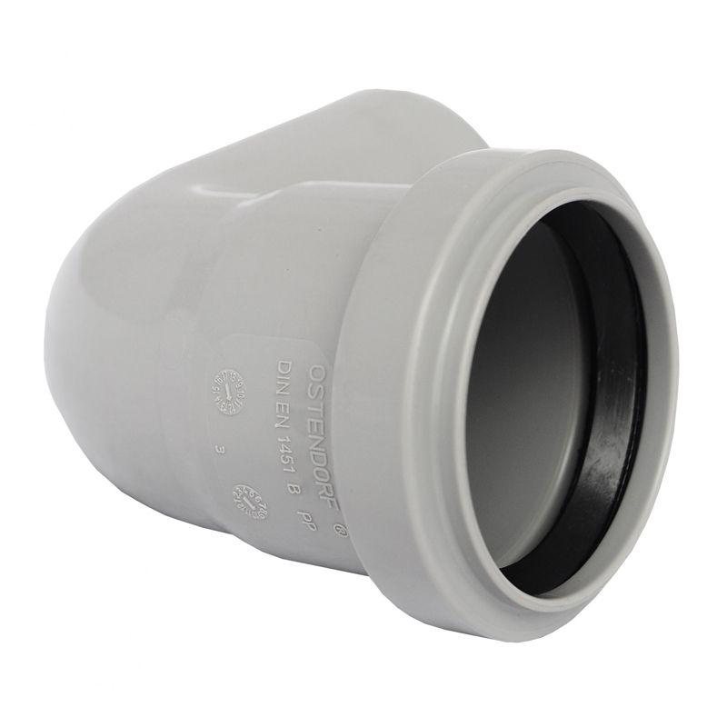 Отвод канализационный Ostendorf 110 87,5°Отвод предназначен для создания поворота внутренней канализационной системы из труб диаметром 110 мм. Обеспечивает поворот системы на 87?.<br>Состав: полипропилен.<br>Производитель: Германия.<br>Технические характеристики<br>Рабочая температура: кратковременно до +95?С.<br>Рабочее давление соединений: до 1 атмосферы.<br><br>Тип канализации: Внутренняя; Материал: Полипропилен; Диаметр: 110 мм; Угол поворота: 87,5 °; Максимальная температура рабочей среды: + 95 °C; Бренд: Ostendorf; Страна производитель: Германия;