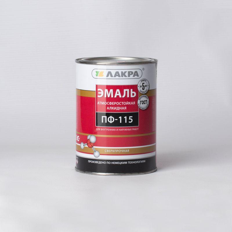 Эмаль ПФ-115 Лакра белая, матовая, 1кгЭмаль ПФ-115, белая матовая, Лакра (1 кг)<br><br>Эмаль на основе алкидного лака, для обработки различных видов поверхностей с целью защиты от воздействия внешних факторов&amp;nbsp;(гарантийный срок службы покрытия 5 лет).<br><br>НАЗНАЧЕНИЕ:<br><br>Окраска любых поверхностей, подверженных атмосферным воздействиям (дерево, металл, цемент, бетон и т.д);<br><br>Внутренние отделочные работы (окраска оконных рам, полов, стен, дверей, батарей).<br><br>ПРЕИМУЩЕСТВА:<br><br>Универсальность использования (подходит для внутренних и наружных работ);<br><br>Эмаль образует матовую пленку, которая визуально делает незначительные неровности поверхности менее заметными;<br><br>Устойчивость покрытия к прямому воздействию воды, атмосферных осадков, различных моющих средств;<br><br>Прочность к истиранию и постоянство цвета под действием световых лучей;<br><br>Возможность хранения и транспортировки при низких температурах;<br><br>Нанесение эмали возможно с помощью кисти, валика или распылителя, благодаря повышенной способности к растеканию;<br><br>Для разбавления загустевшей краски используется растворитель Уайт-спирит (не более 10% от общей массы краски);<br><br>Экономичный расход (7-10 м2/кг).<br><br>РЕКОМЕНДАЦИИ:<br><br>Рекомендации по работе:<br><br>Перед началом работ краску необходимо тщательно перемешать, при необходимости добавить растворитель;<br><br>Обрабатываемую поверхность нужно тщательно подготовить: &amp;nbsp;&amp;nbsp;&amp;nbsp;&amp;nbsp;<br><br>- С деревянных поверхностей, которые ранее были окрашены, удалить старую отслоившуюся краску и зашкурить;<br><br>- С металлических поверхностей удалить ржавчину и окалину, обезжирить, загрунтовать грунтовкой на алкидной основе, если имеются впадины, выровнять их алкидной шпатлевкой;<br><br>- Бетонные и цементные поверхности требуют предварительной шпатлевки и грунтовки;<br><br>- С поверхностей, которые были окрашены красками на основе мела или извести, нужно полностью удалить старый слой;<br>
