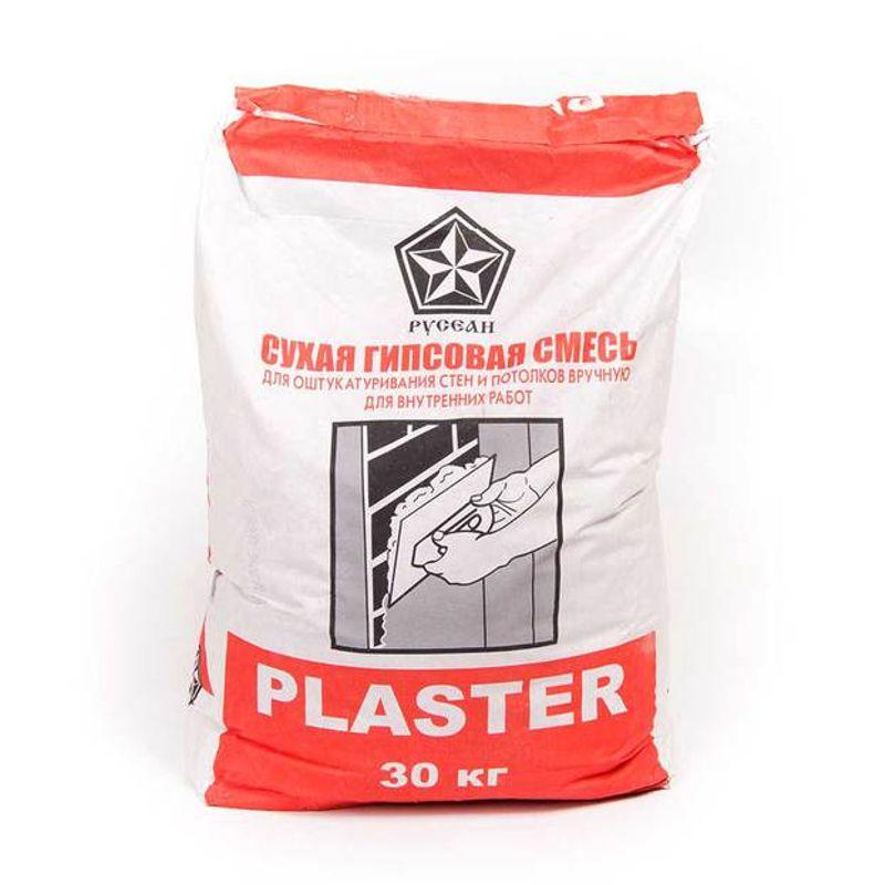 Штукатурка гипсовая Русеан Plaster, 30 кгШтукатурка гипсовая PLASTER серая, 30 кг Русеан<br><br>Штукатурка на гипсовой основе для ручного нанесения.<br><br>НАЗНАЧЕНИЕ:<br><br>Выравнивание оснований в помещениях нормальной влажности перед нанесение<br>м декоративного слоя;<br>Создание ровной поверхности на кирпичных, цементных,<br> различного типа бетонных плоскостях;<br>Защита стен зданий от факторов окружающей среды.<br><br>ПРЕИМУЩЕСТВА:<br><br>Экономичная (расход продукта 8-9 кг на 1 кв.м,<br> не требует дальнейшего покрытия шпаклевкой);<br>Универсальная (используется в различных помещениях,<br> в том числе в ванных комнатах, кухнях,<br> детских и медицинских учреждениях);<br>После высыхания не дает усадку;<br>Экологичная;<br>Воздухопроницаемая (создает оптимальный микроклимат в помещении).<br>Удобная в использовании (слой за одно нанесение до 50мм).<br><br>ИНСТРУКЦИЯ ПО ПРИМЕНЕНИЮ:<br><br>Подготовка основания:<br><br>Поверхность нужно очистить и просушить. Вещества,<br> ослабляющие сцепление с поверхностью, такие как жир, пыль и т.п.<br> должны быть удалены.<br>Температура в помещении и основания должна быть не ниже +5 и не выше +30<br> градусов.<br>Основания, хорошо впитывающие влагу, предварительно обработать <br>«грунтовкой глубоко проникновения Русеан». <br>Гладкие и плохо впитывающие (например, бетон) обработать составом <br>«Бетонконтакт Русеан» и просушить перед основными работами.<br><br>Приготовление смеси:<br><br>Емкость для приготовления штукатурного раствора и используемый в работе <br>инструмент должны быть чистыми. <br>Сухую смесь постепенно высыпать в воду комнатной температуры в следующих<br> пропорциях:<br>- на 1 кг смеси – 0,5-0,58 л воды<br>- на 30 кг смеси – 15,6-17,4 л воды<br>Замешивать вручную или при помощи строительного миксера.<br> Смесь должна стать однородной. <br>Дать отстояться в течение нескольких минут и снова перемешать.<br> Готовый раствор использовать в течение 20 минут.<br><br>Нанесение:<br><br>Смесь нанести на подготовленную п