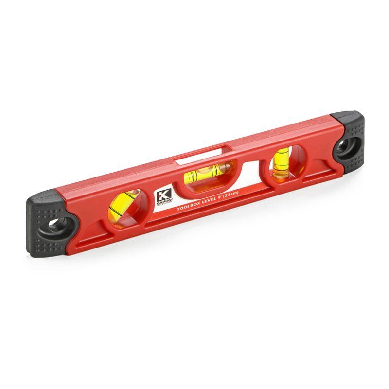 Уровень КАПРО торпедо магнитный 230 мм, 3 глазкаУровень КАПРО&amp;nbsp;торпедо&amp;nbsp;магнитный 230 мм<br><br>Строительный магнитный уровень КАПРО 230 см. для крепления к металлическим поверхностям и определения отклонений по горизонтали или вертикали<br><br>НАЗНАЧЕНИЕ:<br><br>Определение точности горизонтальных и вертикальных поверхностей;<br>Работа с металлическими поверхностями, в том числе и под наклоном;<br>Сантехнические работы;<br>Установка оконных, дверных проемов, укладка плитки.<br><br>ПРЕИМУЩЕСТВА:<br><br>Долговечность и ударопрочность (рабочая поверхность фрезерована,&amp;nbsp;антиударные&amp;nbsp;вставки на торцах, усиленный профиль, легкий и прочный пластик, 2 ребра жесткости, жидкость внутри ампул не мутнеет, выдерживает перепады температур и УФ лучи, 3 колбы из высокопрочного материала);<br>1 ампула &amp;ndash; выверяет горизонталь.<br>2 ампула &amp;ndash; выверяет горизонталь и вертикаль.<br>3 ампулы &amp;ndash; дополнительный поворотный угол наклона.<br>Удобство и простота применения (магнит для работы с металлическими поверхностями, небольшой и легкий, замеры объектов до 23 см., работа при температуре от -20*С до +40С);<br>Система&amp;nbsp;&amp;nbsp;Plumbsite (фронтальный обзор колбы, работа в труднодоступных местах, экономия рабочего времени);<br>Точность (возможные отклонения до 0,5мм/м).<br><br>РЕКОМЕНДАЦИИ:<br><br>Обращайтесь с уровнем бережно и осторожно;<br>Для большей точности работы с большими площадями используйте несколько одинаковых уровней, но с различной длиной;<br>Для бытовых целей рекомендовано использовать более короткий и, как следствие, удобный для использования уровень;<br>При работе с металлическими конструкциями используйте магнитный уровень;<br>Используйте при определении точности один и тот же уровень. При замерах разным инструментом точность может отличаться;<br>Периодически проверяйте уровень на точность с помощью другого уровня:<br>Положить уровень на поверхность.<br>Сделать отметки о его положении.<br>На его место поло